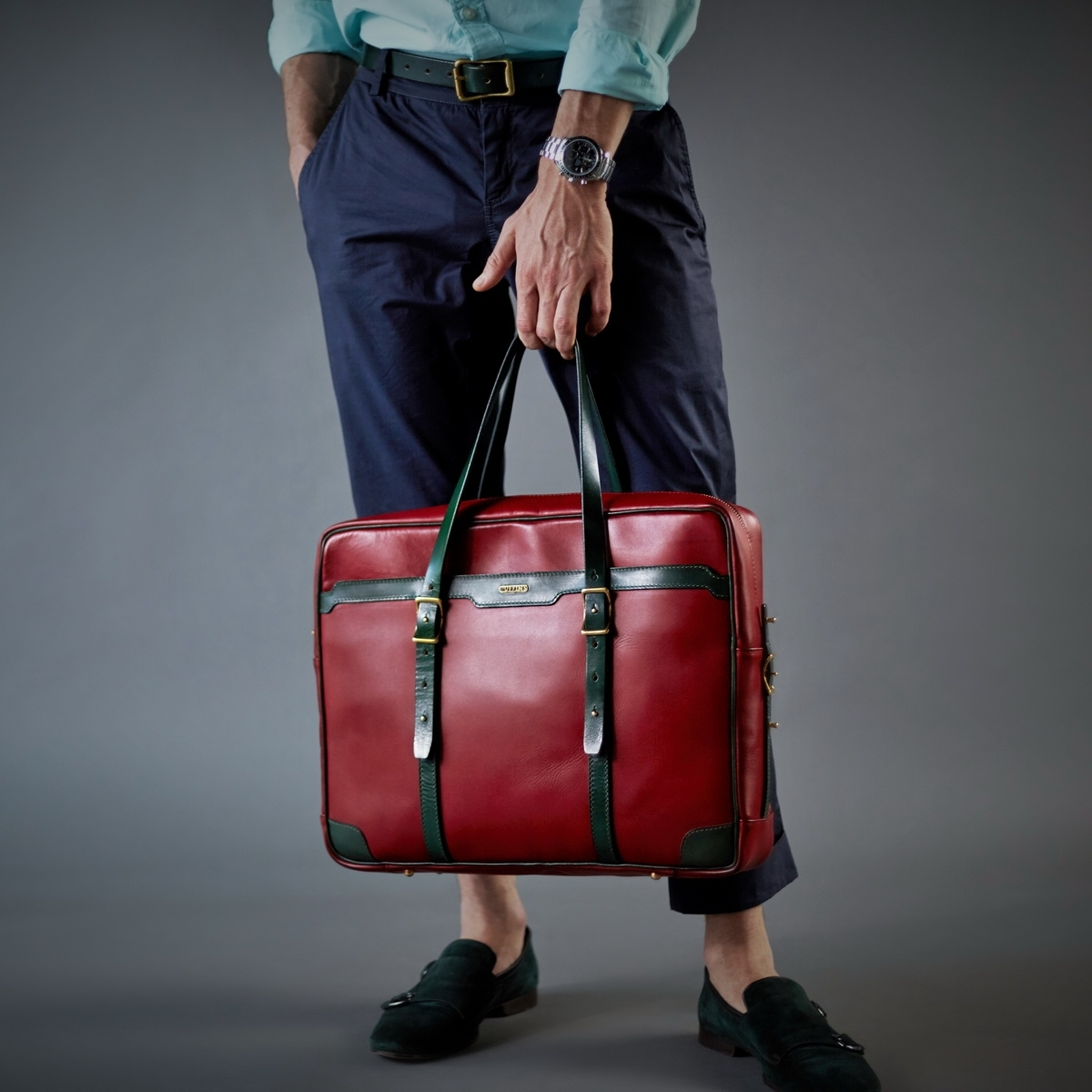 Briefcase  DAPPER 17'' grassy green & red currant