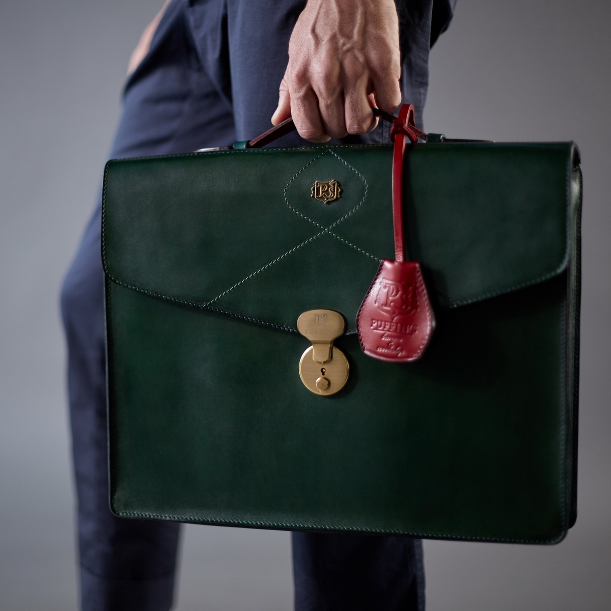 Briefcase ELEGANCE red currant & grassy green