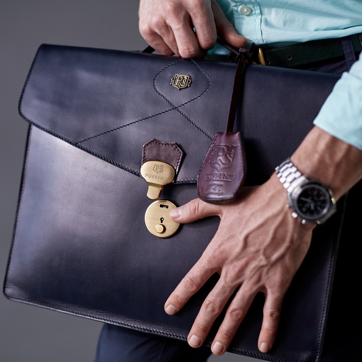 Briefcase ELEGANCE bordeaux & midnight blue