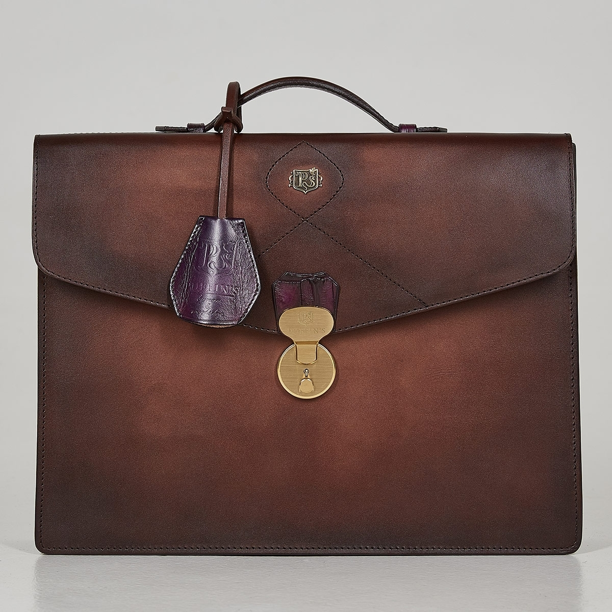 Briefcase ELEGANCE plum wine & dutch cocoa