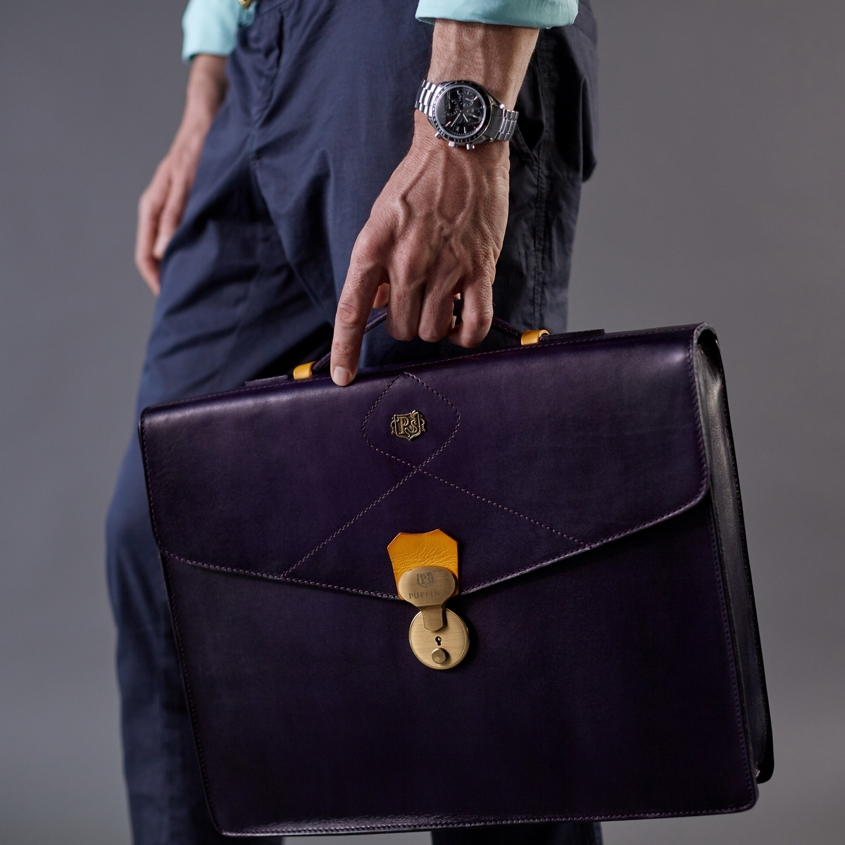 Briefcase ELEGANCE bright mustard & violet ink