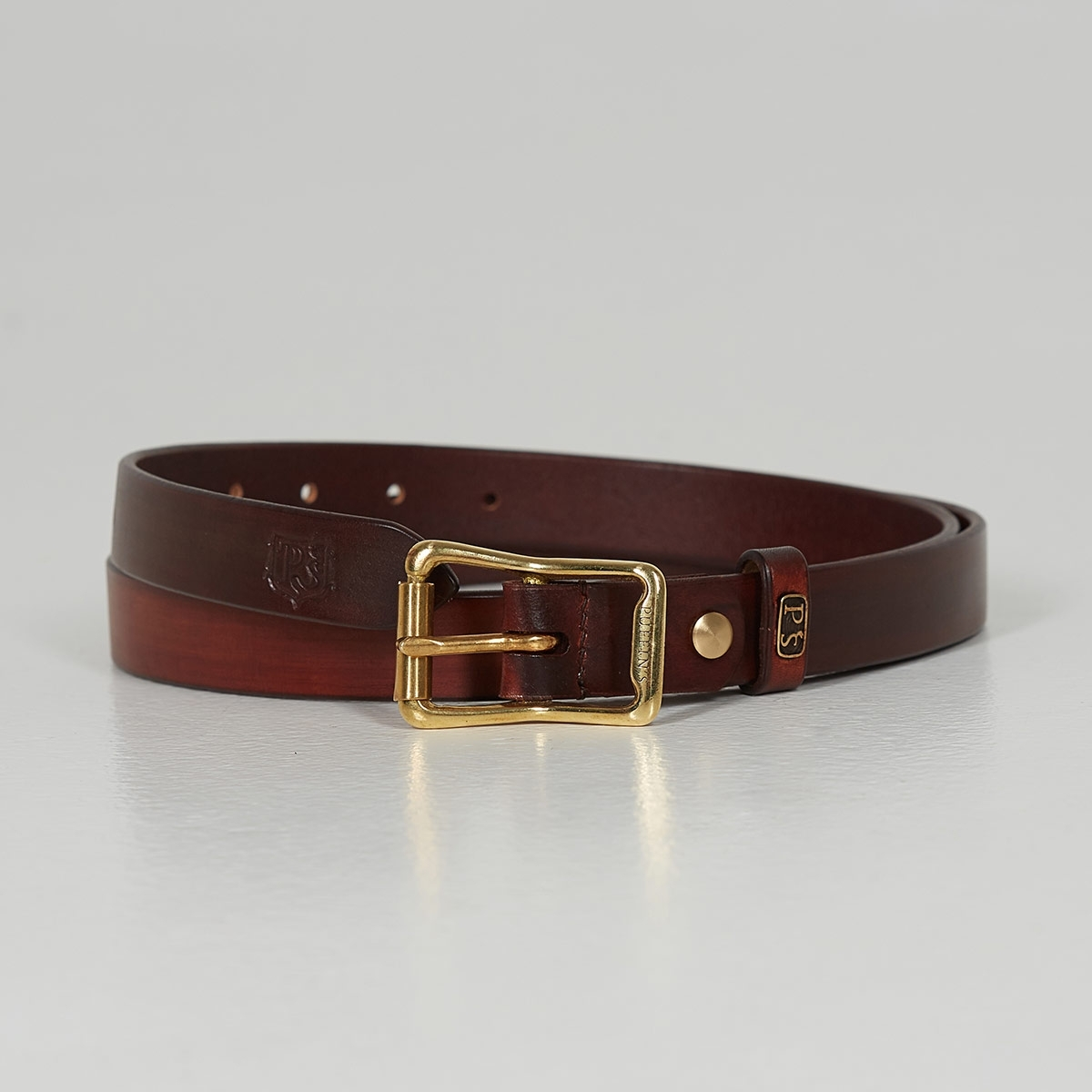 Luxury narrow belt 25mm with patina sandal