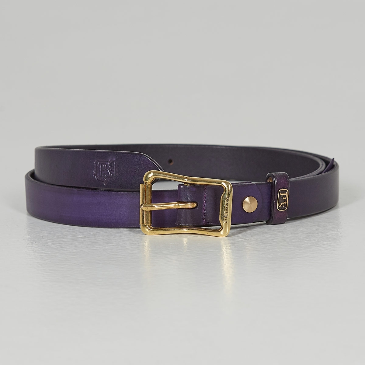 Luxury narrow belt 25mm with patina violet ink