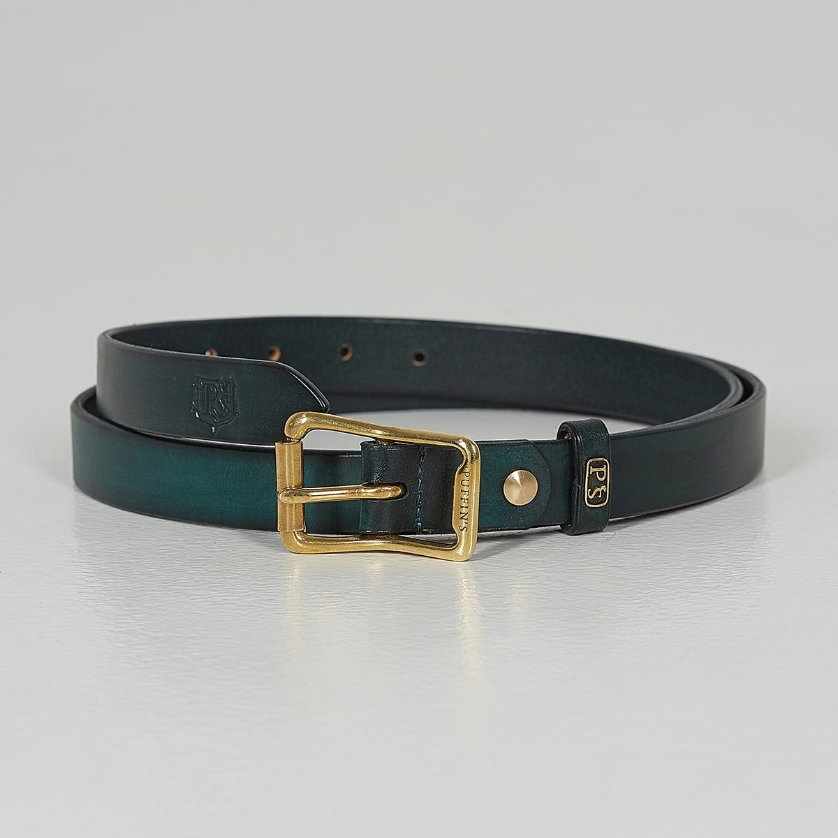 Luxury narrow belt 25mm with patina bluemarine