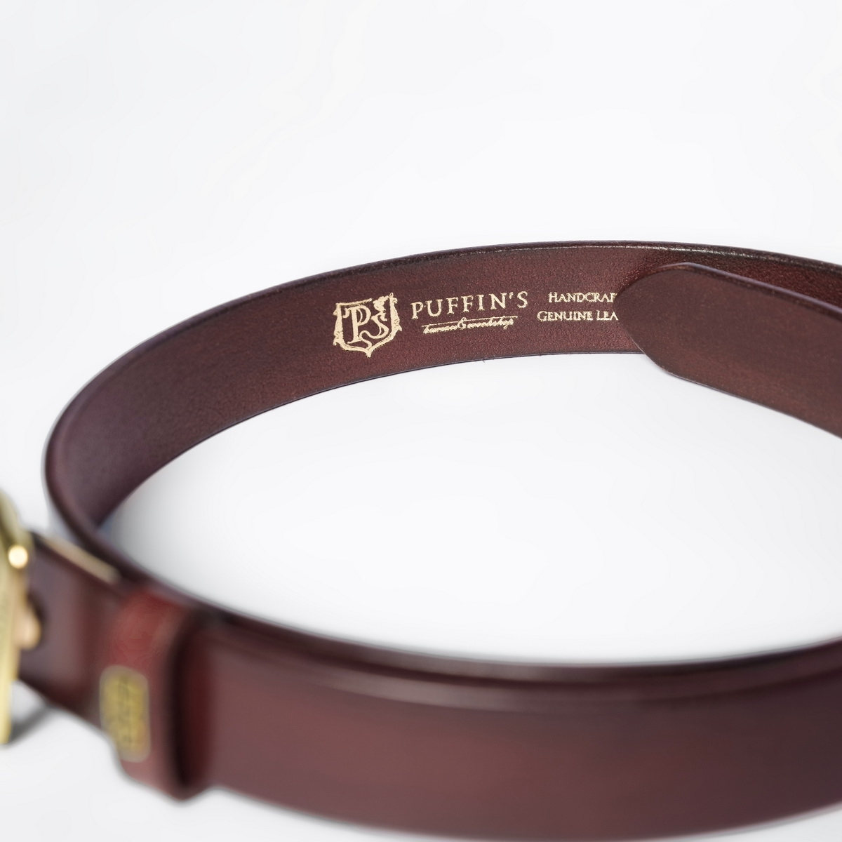 Exquisite belt with roller brass buckle 30mm bordeaux