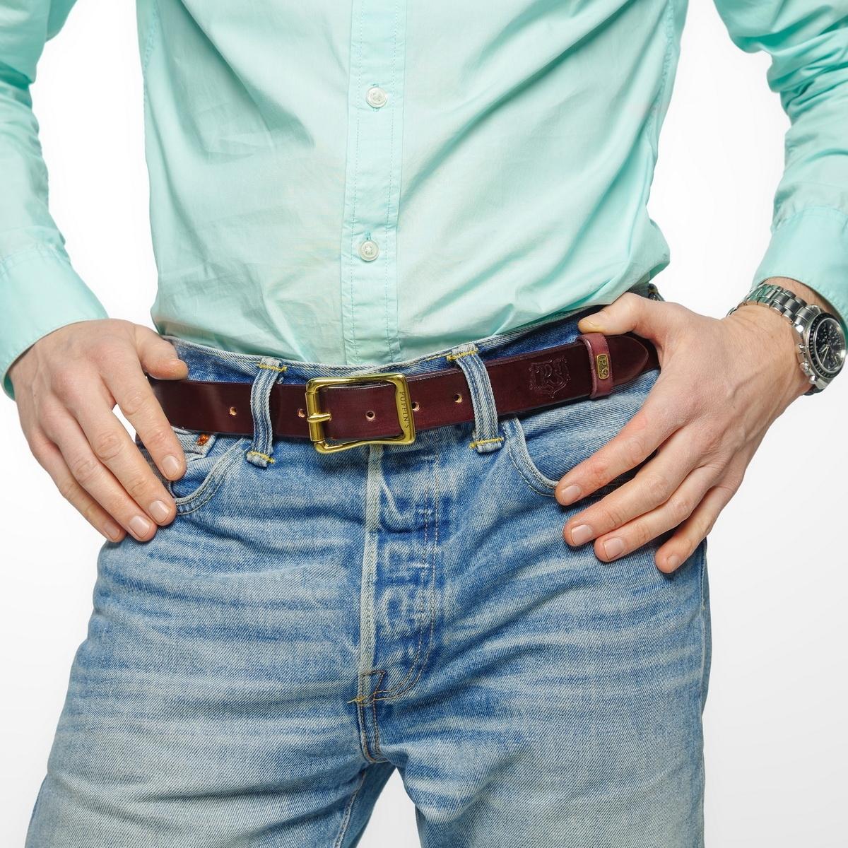 Exquisite belt with roller brass buckle 30mm bordeaux