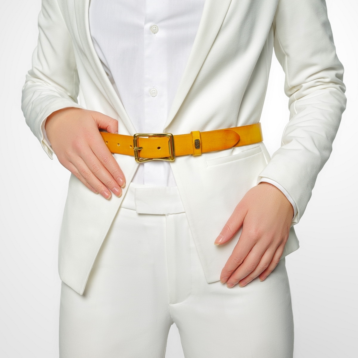 Exquisite belt with roller brass buckle 30mm bright mustard
