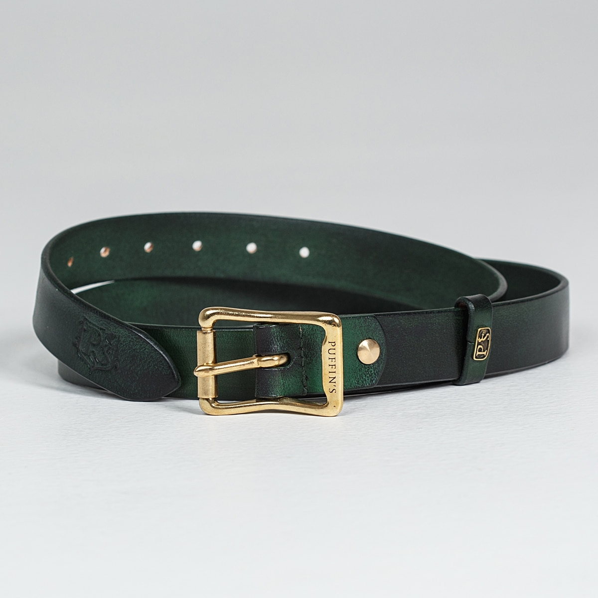 Exquisite belt with roller brass buckle 30mm grassy green
