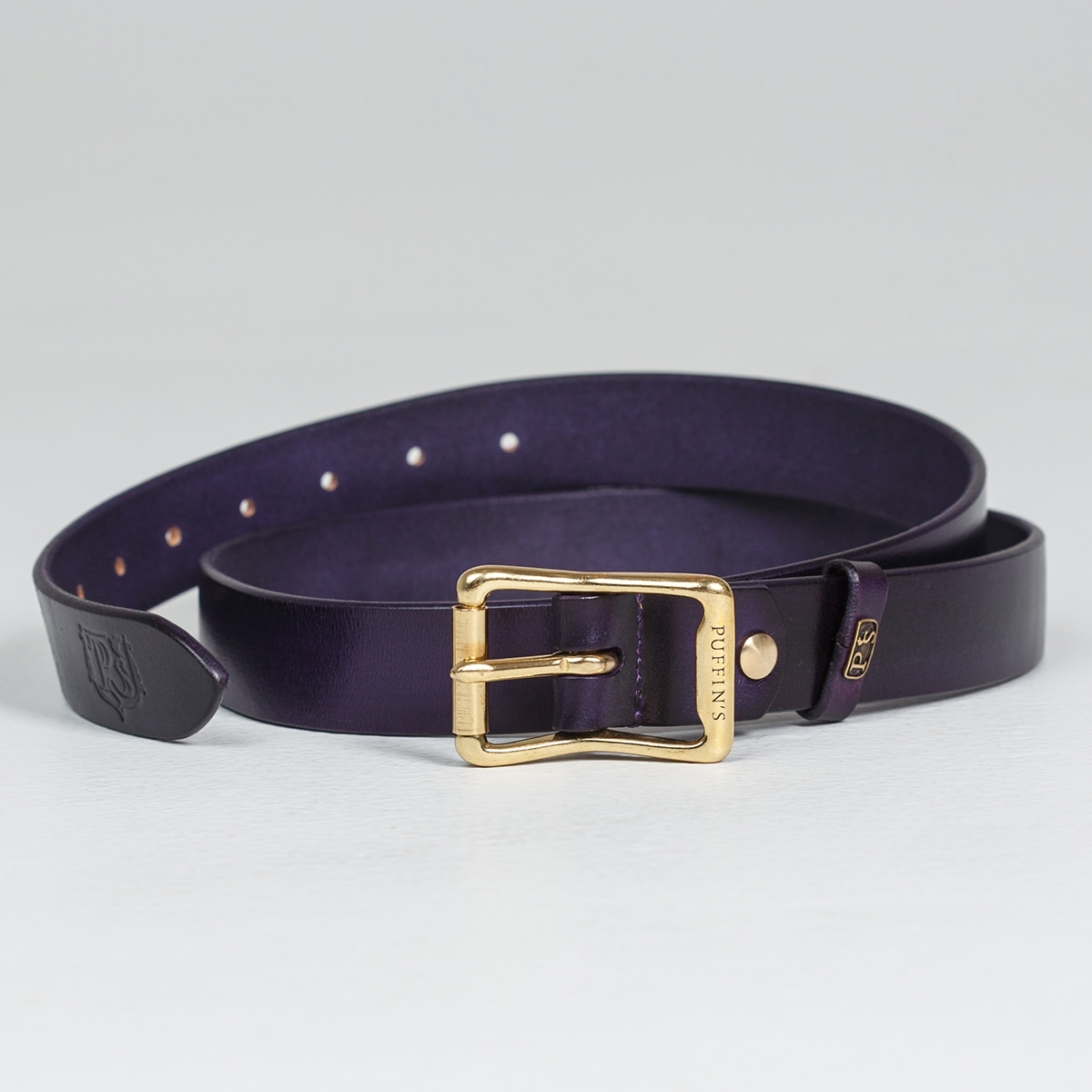 Exquisite belt with roller brass buckle 30mm violet ink
