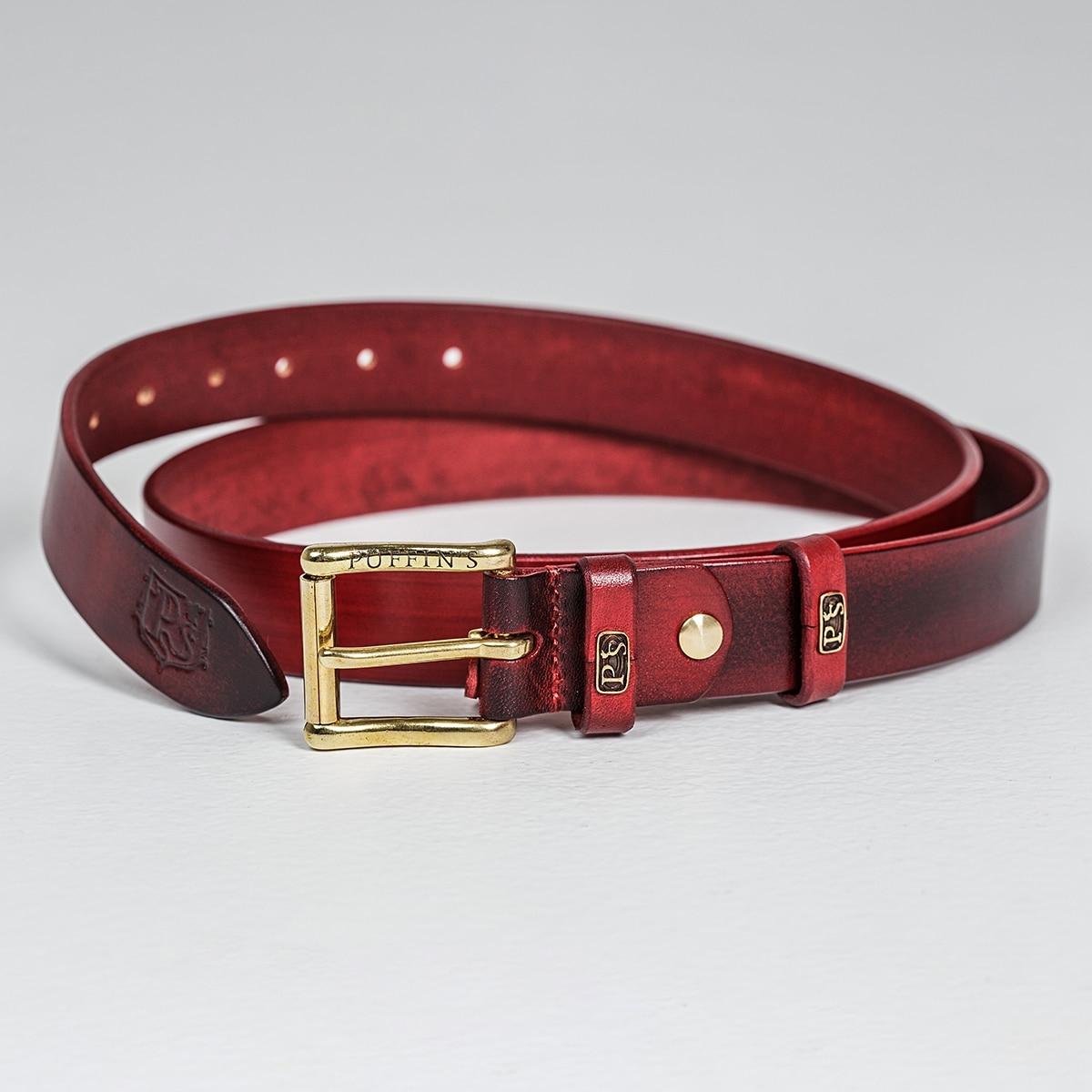 Традиционный ремень шириной 32 мм с латунной пряжкой красная смородина