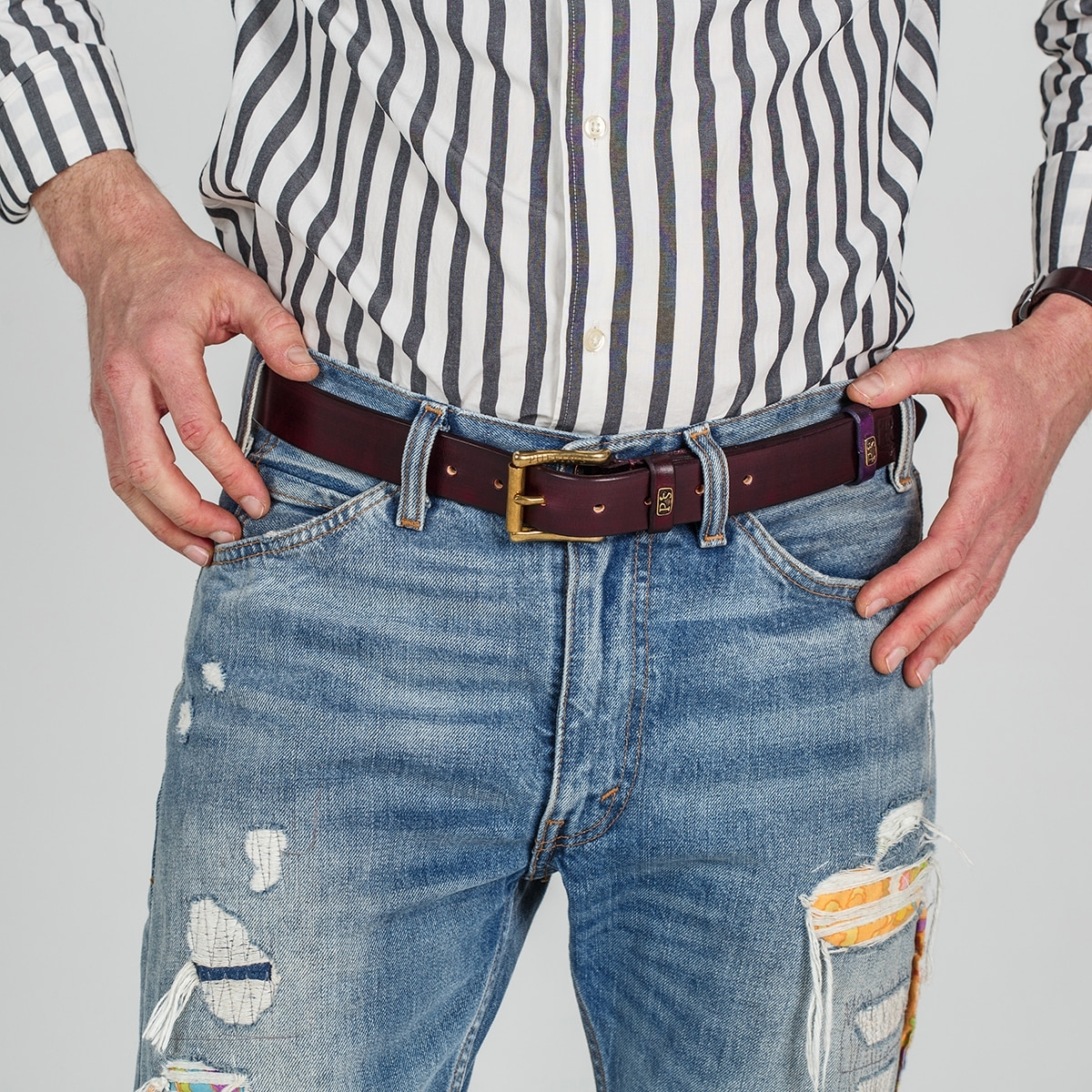 32mm traditional belt for jeans bordeaux