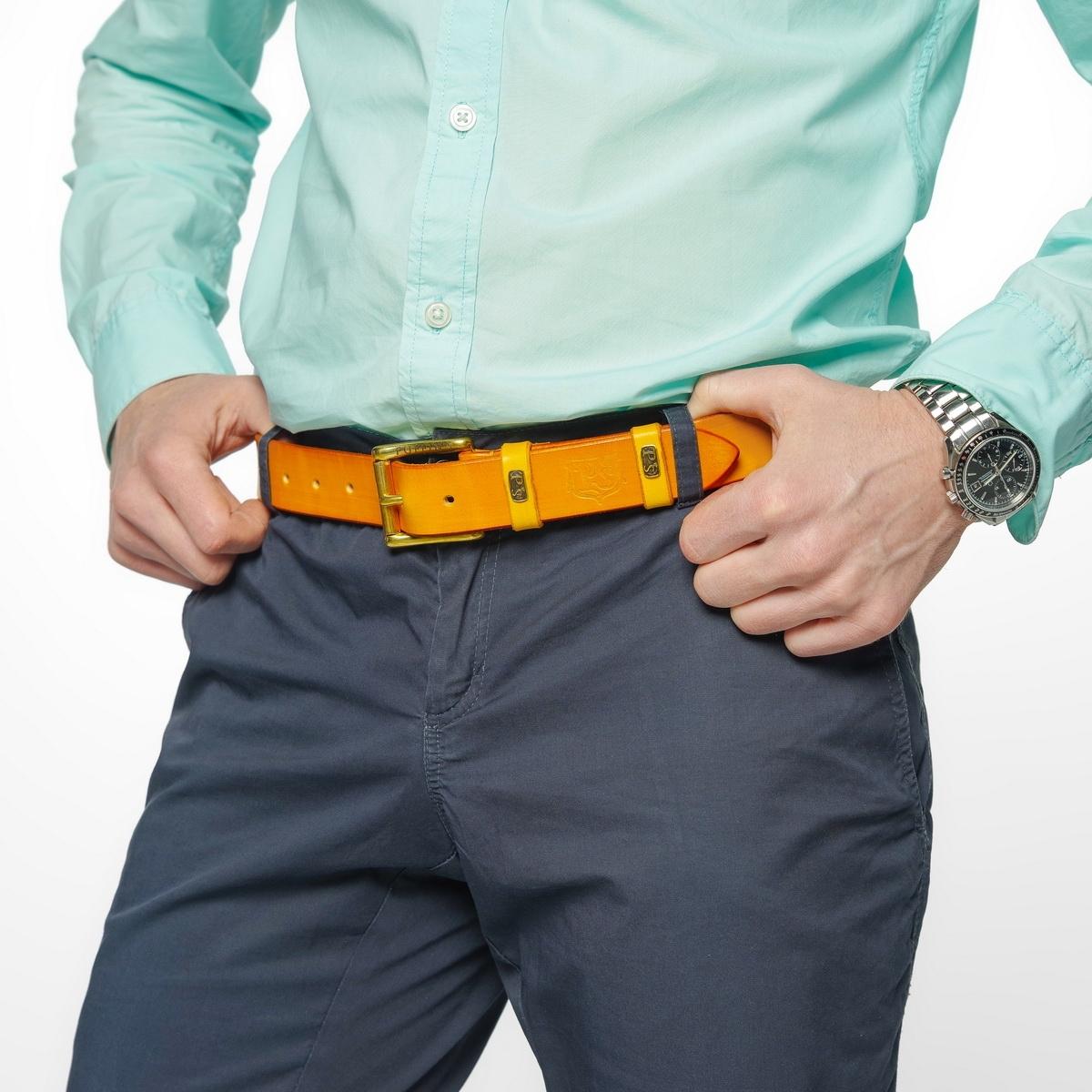 Традиционный джинсовый ремень шириной 32 мм горчичный
