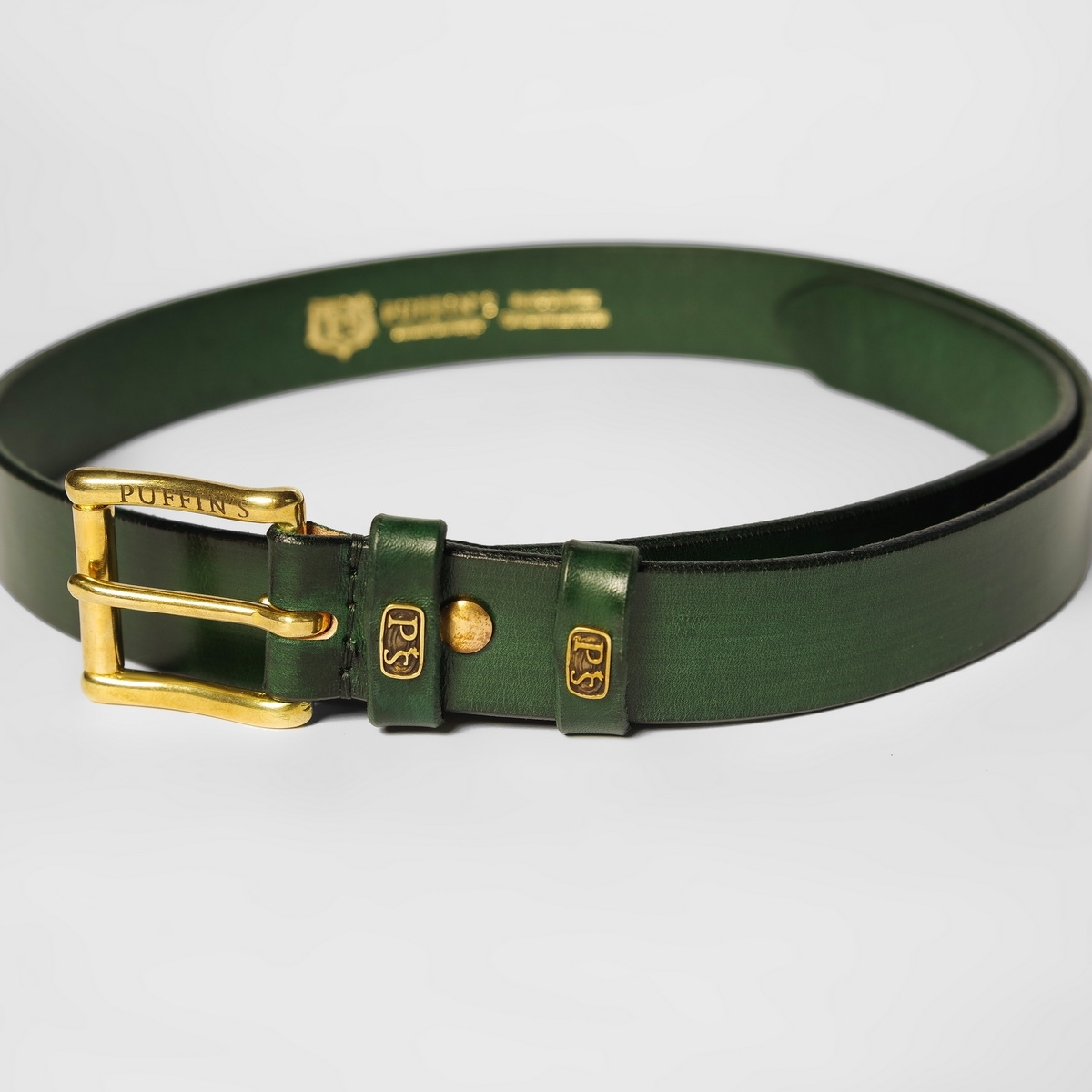 32mm traditional belt with brass buckle grassy green