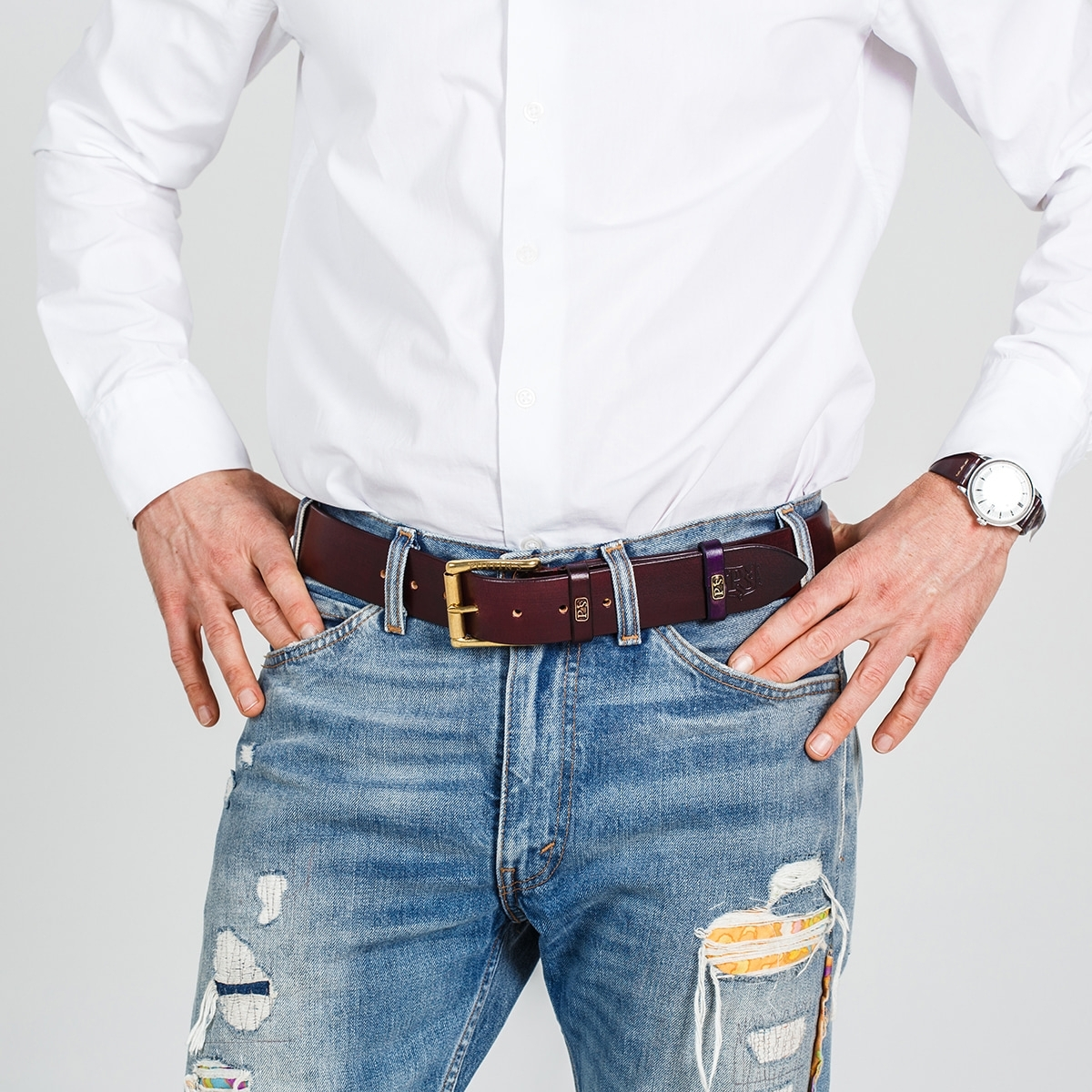 Широкий джинсовый ремень с латунной пряжкой 40мм бордо