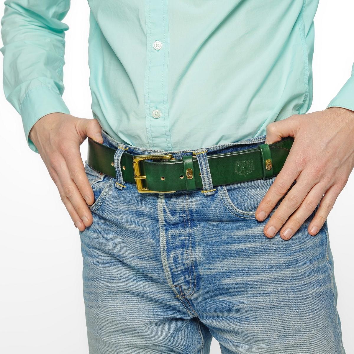 Широкий джинсовый ремень с латунной пряжкой 40мм зеленый травяной