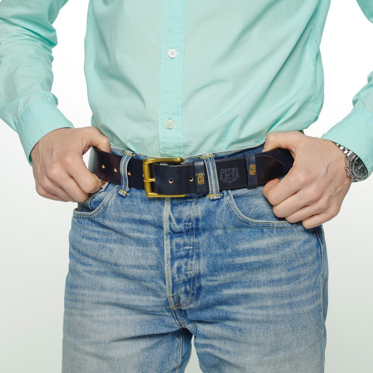 Wide belt for jeans with a 40mm brass buckle midnight blue