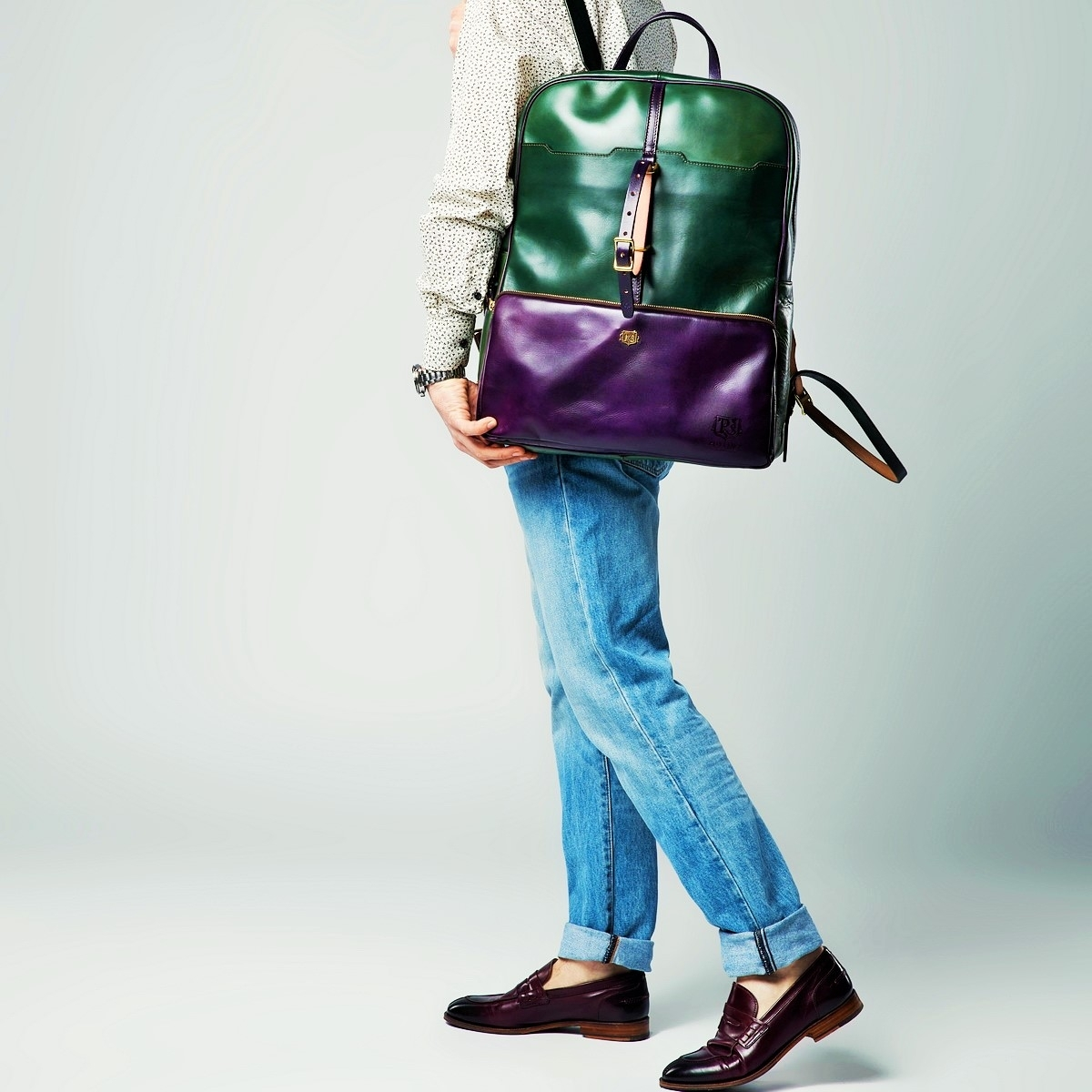 Backpack GRAN TURISMO 17'' violet ink & grassy green