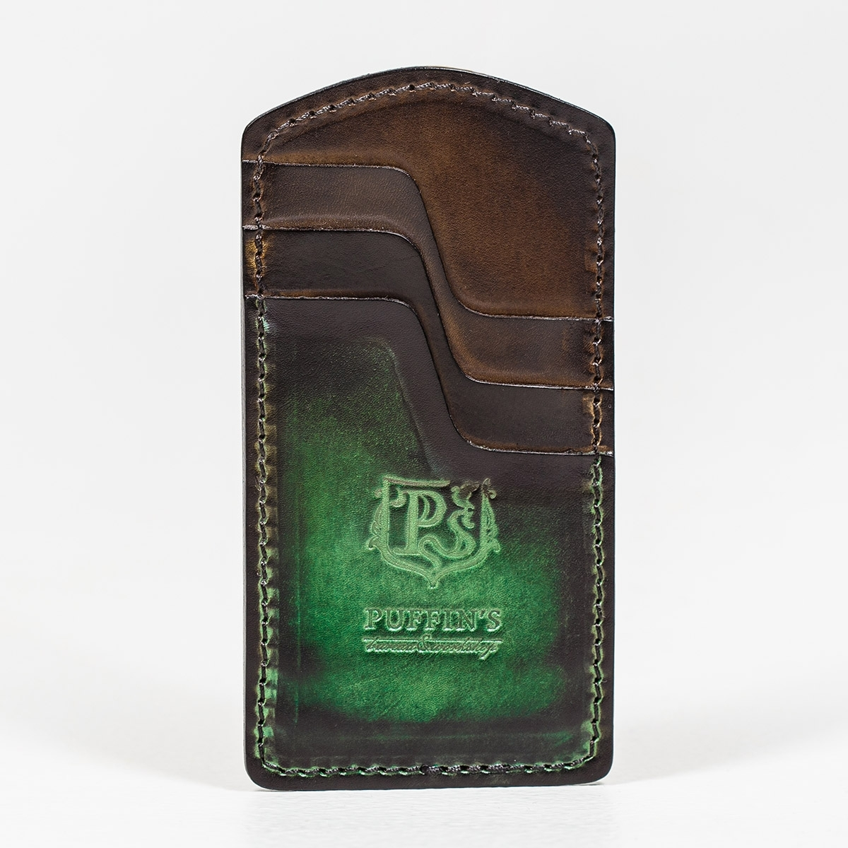 Cardholder TOWER grassy green & chestnut