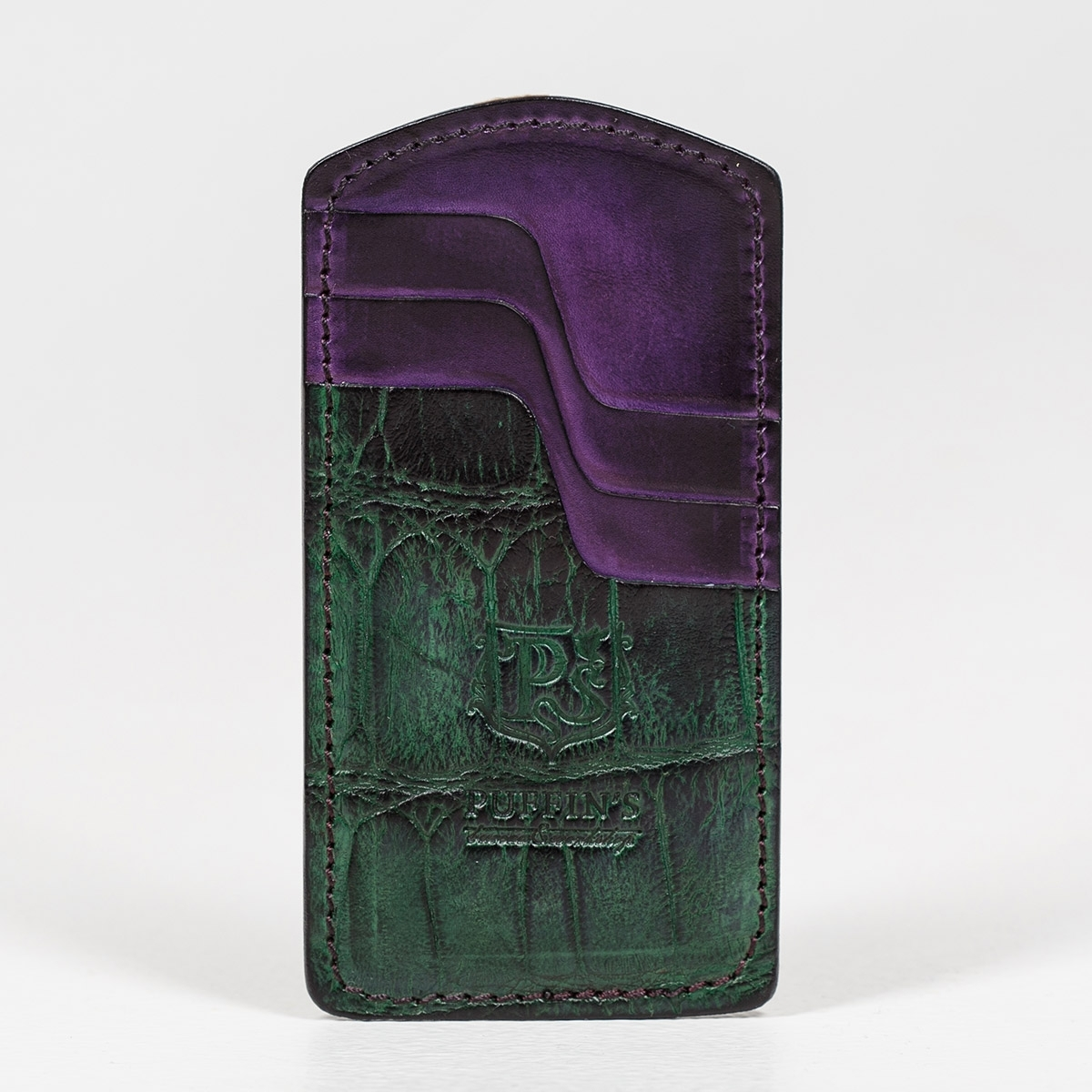 Cardholder TOWER grassy green & violet ink