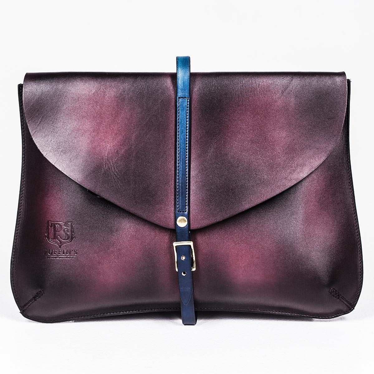 Elegant clutch CELLO / 13'' MacBook case sapphire blue & plum wine