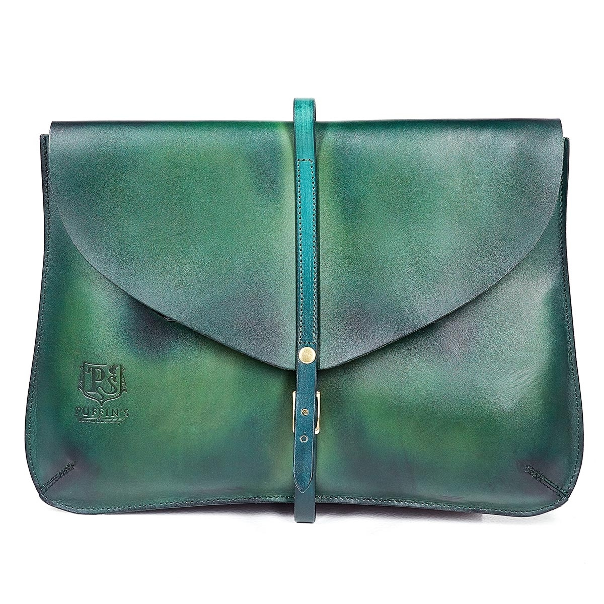 Elegant clutch CELLO / 13'' MacBook case grassy green & bluemarine