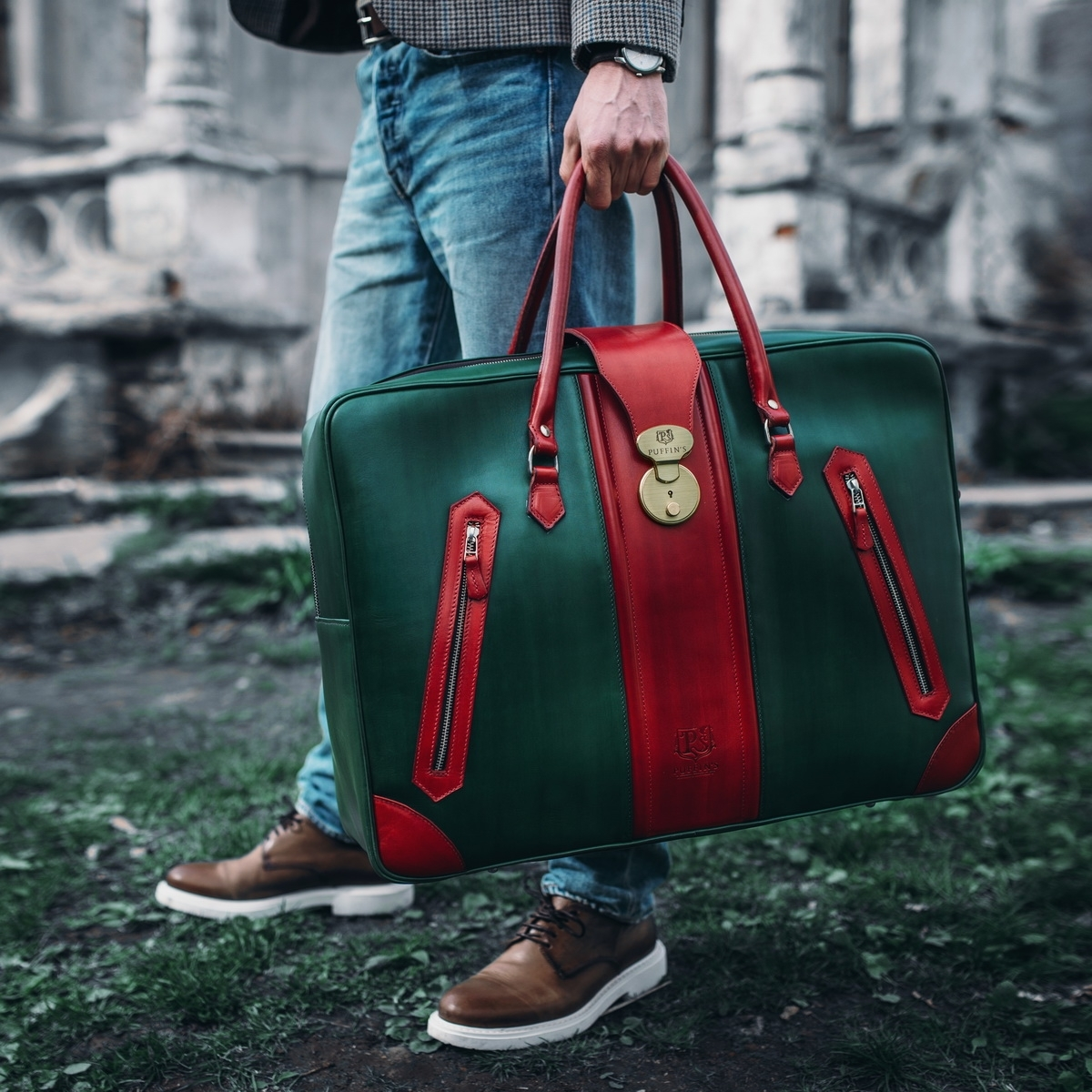 Leather suitcase HOLIDAY red currant & grassy green