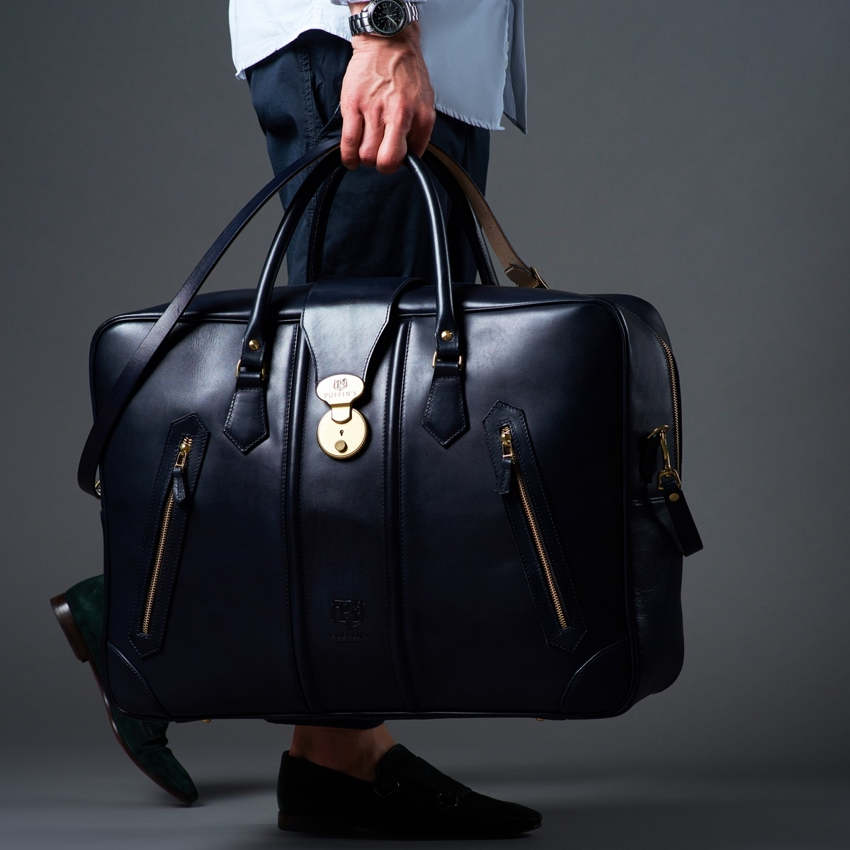 Leather suitcase HOLIDAY midnight blue