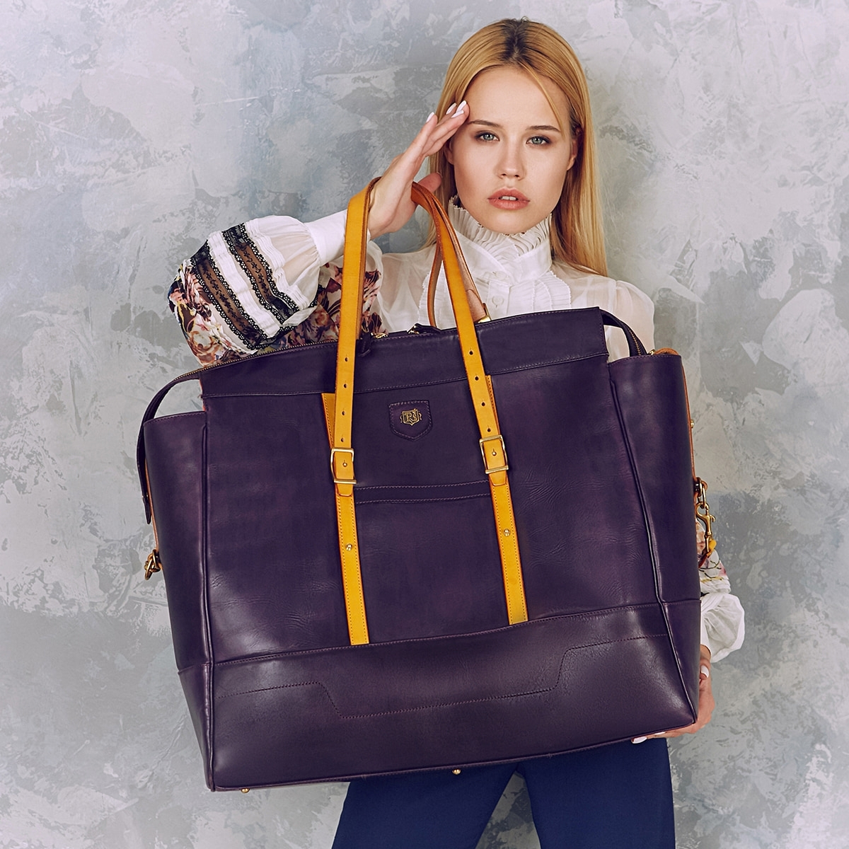 Travel bag WEEKENDER bright mustard & violet ink