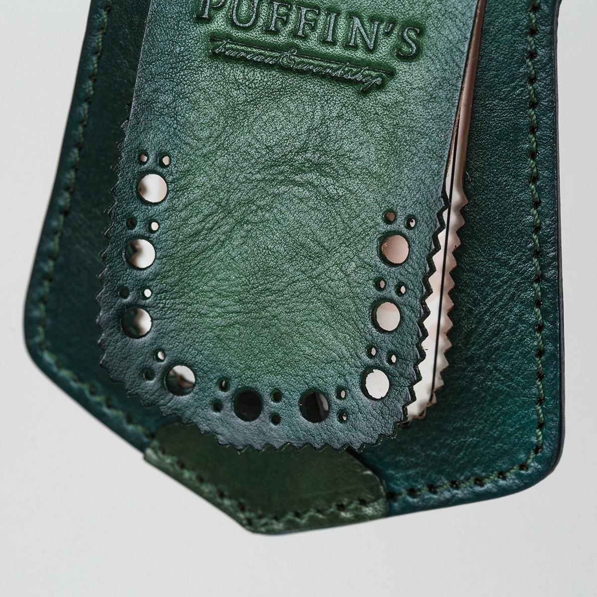 Luggage tag TAVARUA personalized with patina grassy green