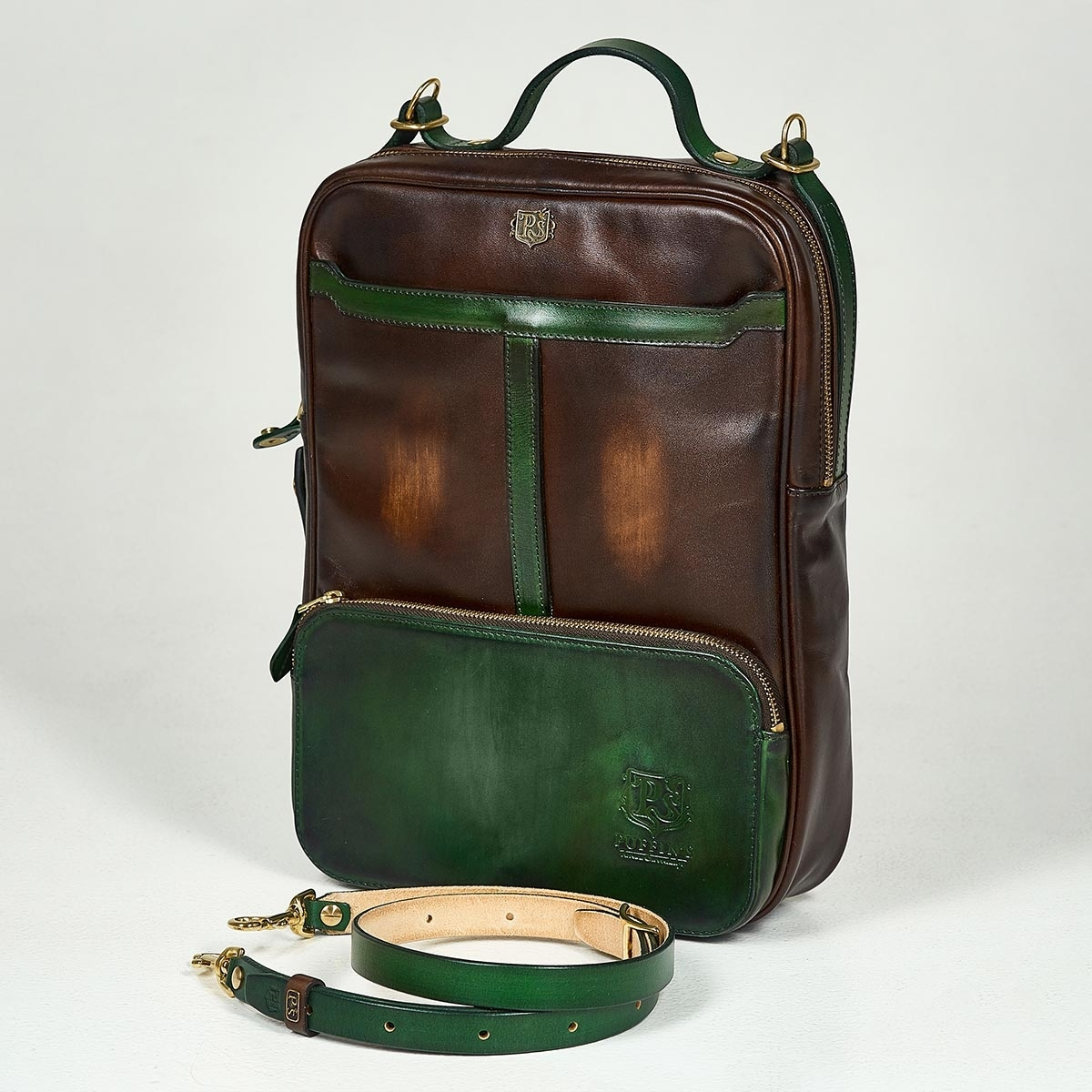 Crossbody bag-transformer CHELSEA grassy green & chestnut