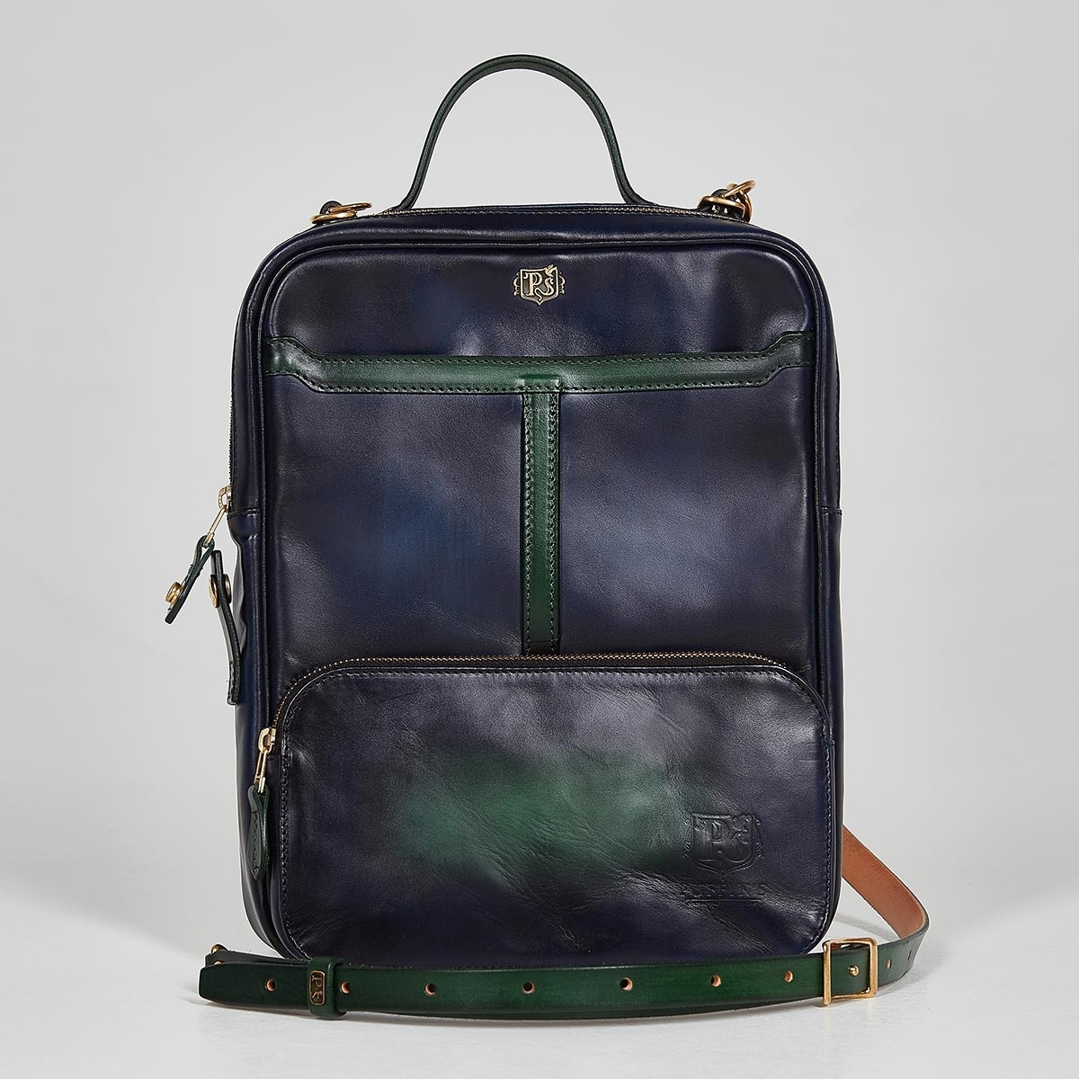 Crossbody bag-transformer CHELSEA grassy green & midnight blue