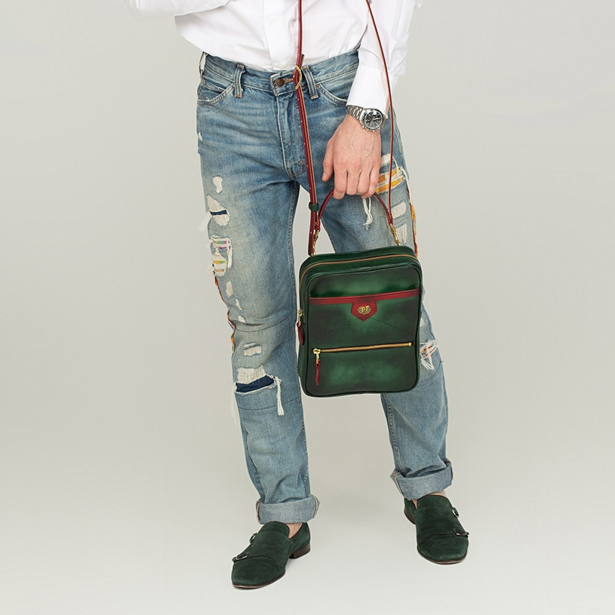 Crossbody bag MEZZO red currant & grassy green