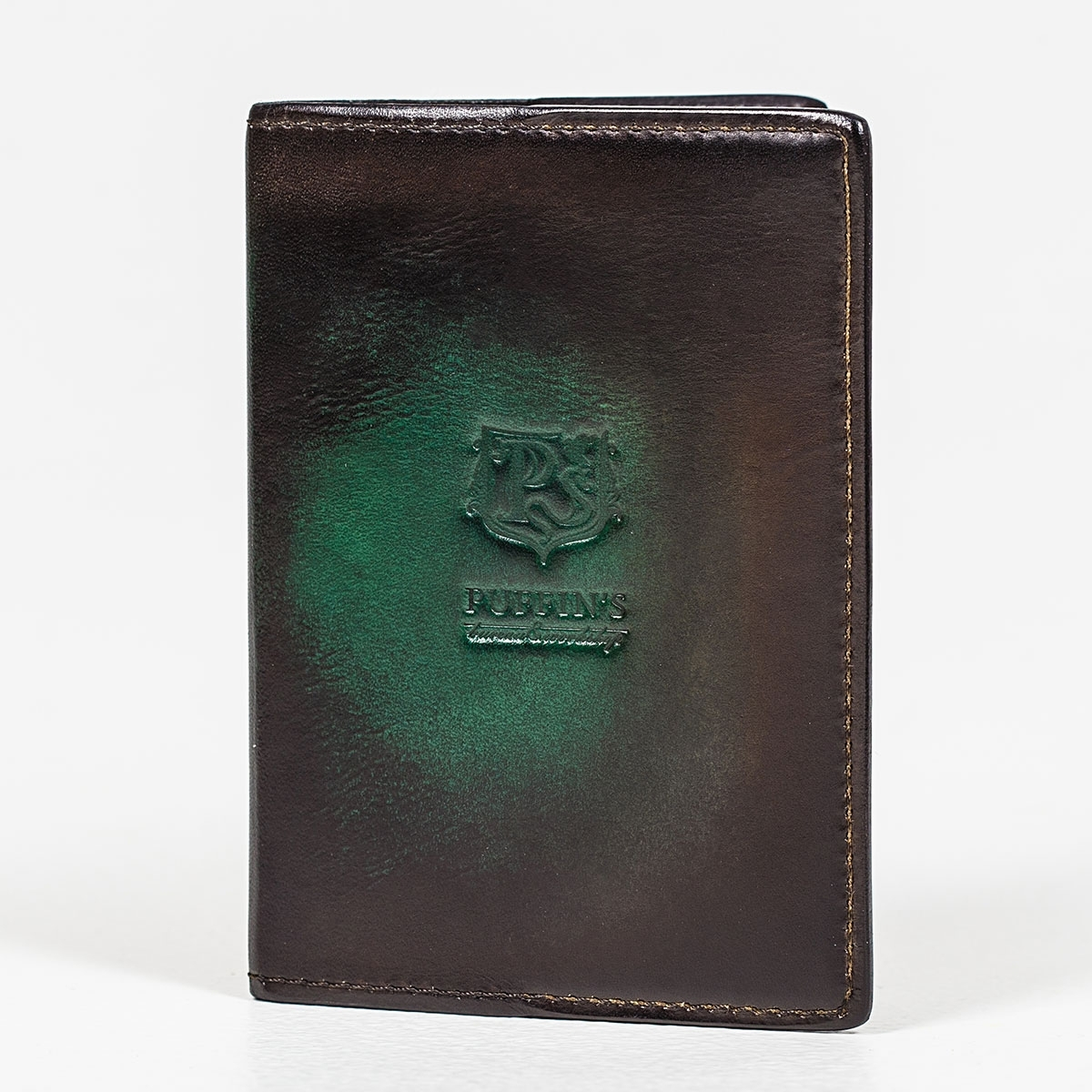Passport cover CYNARA grassy green & chestnut
