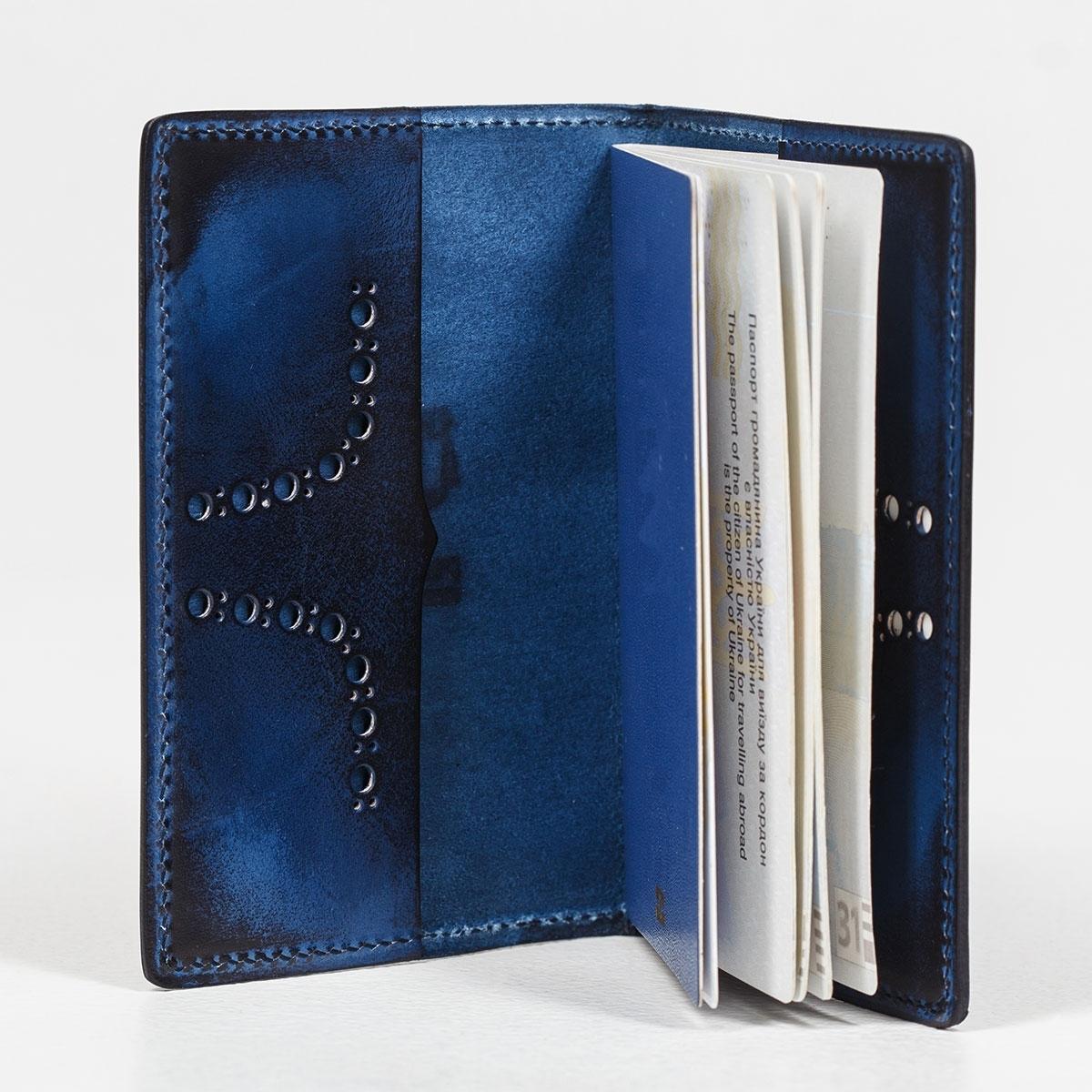 Обложка для паспорта CYNARA зеленый травяной & голубой сапфир