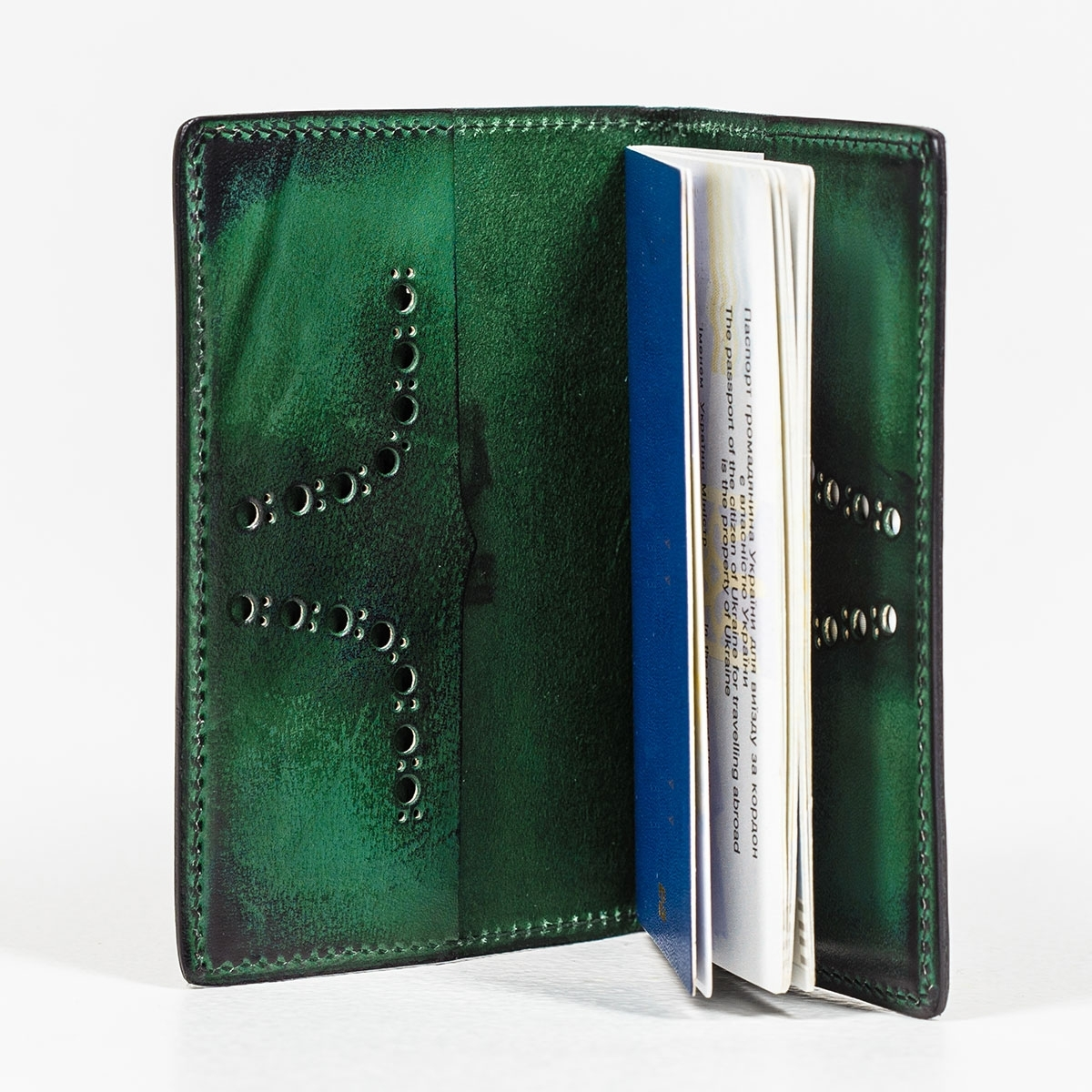 Passport cover CYNARA violet ink & grassy green