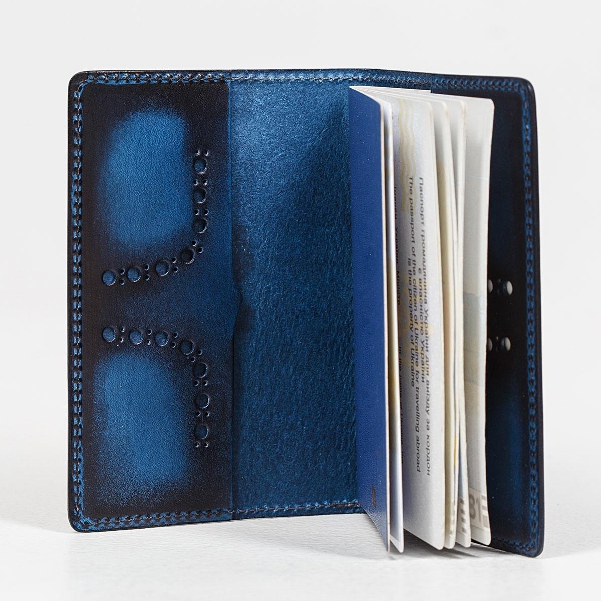 Обложка для паспорта CYNARA голубой сапфир