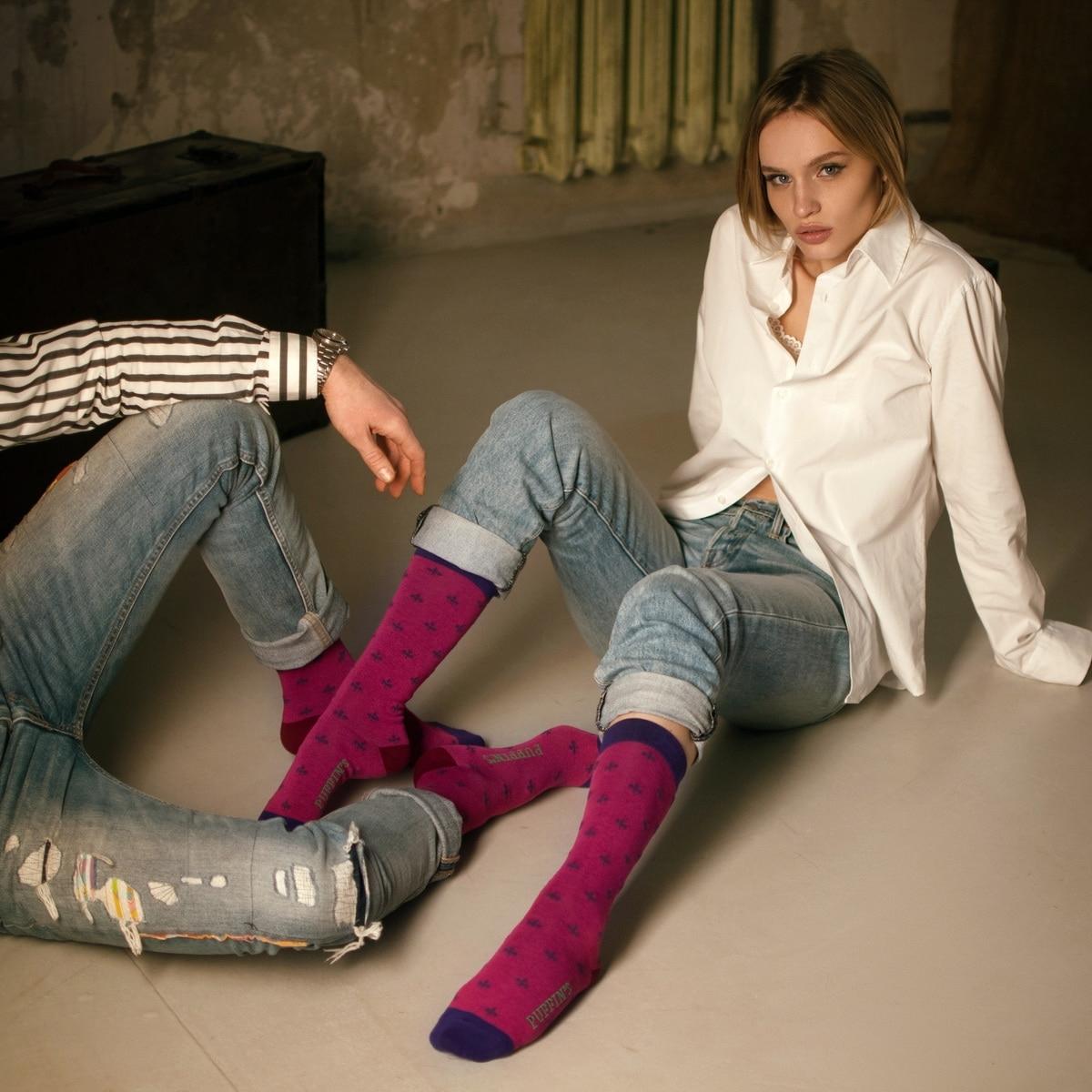 HAPPY WEEK. Set of 6 pairs colorful socks  LONG-series & gift box
