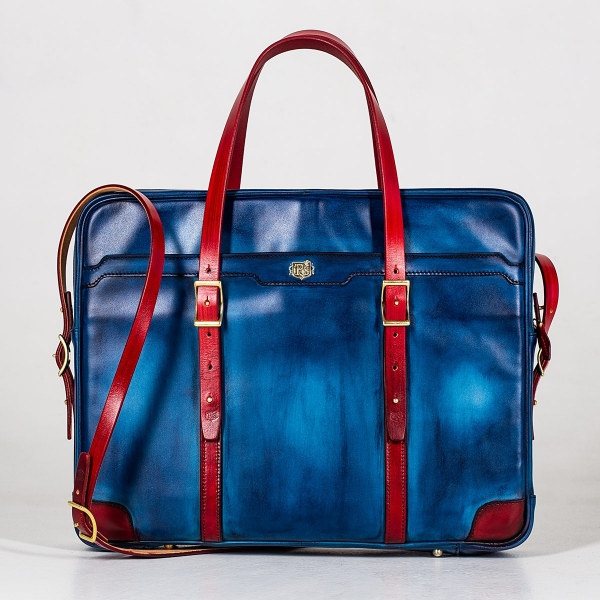 Briefcase  DAPPER 17'' red currant & sapphire blue
