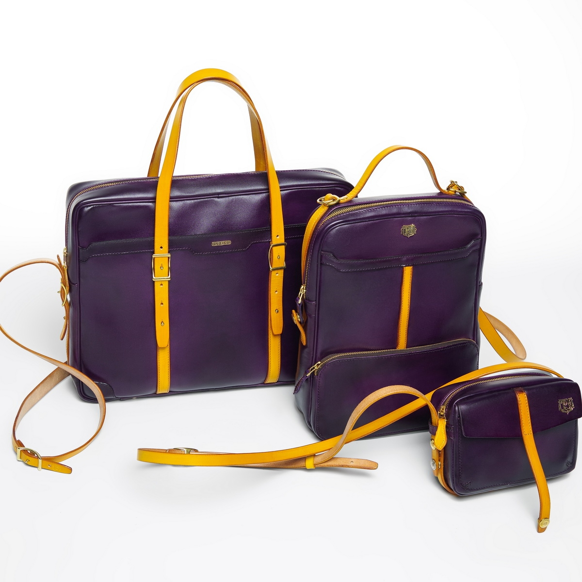 Briefcase  DAPPER 17'' bright mustard & violet ink