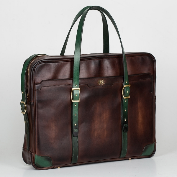 Briefcase  DAPPER 17'' grassy green & chestnut