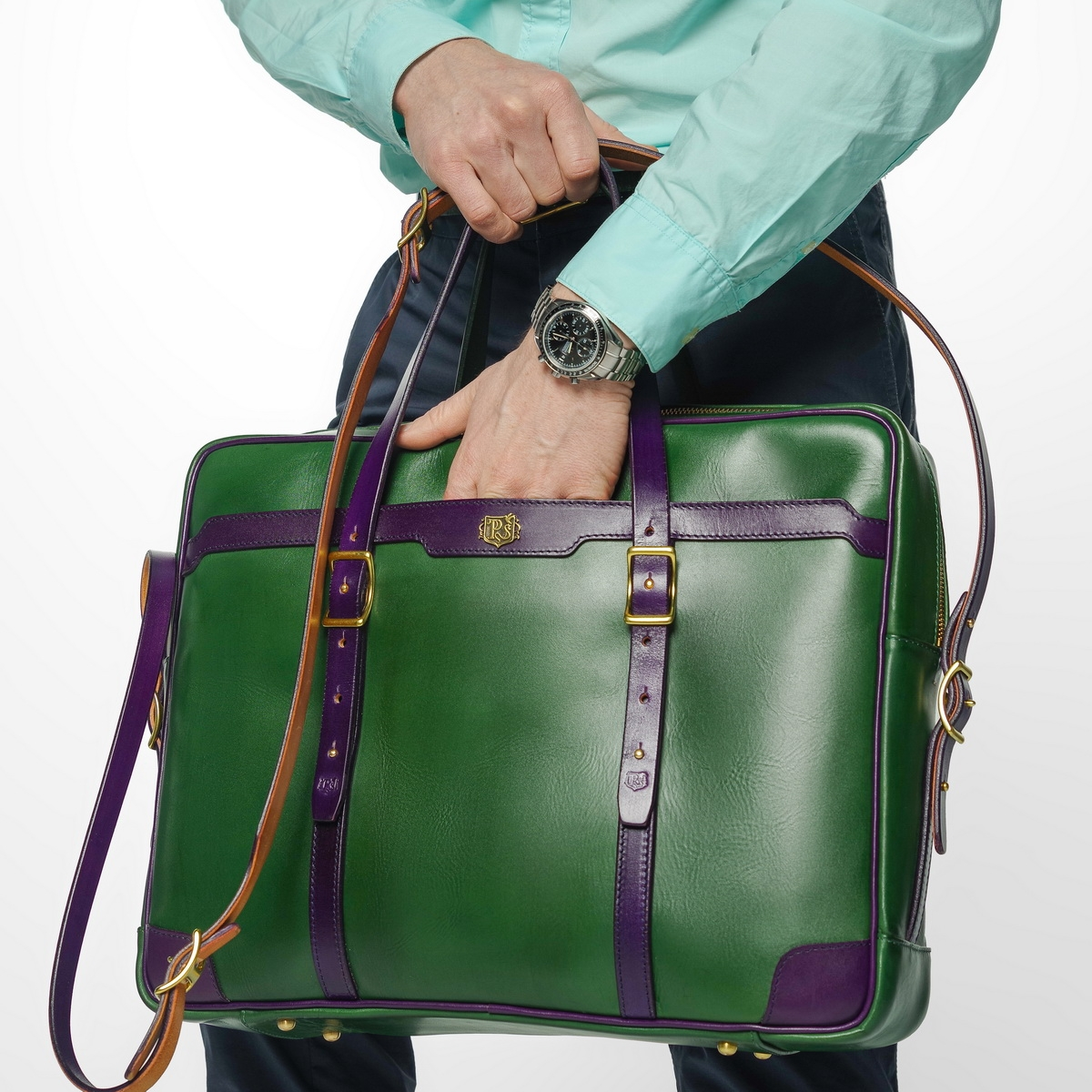 Briefcase  DAPPER 17'' grassy green & violet ink double-sided