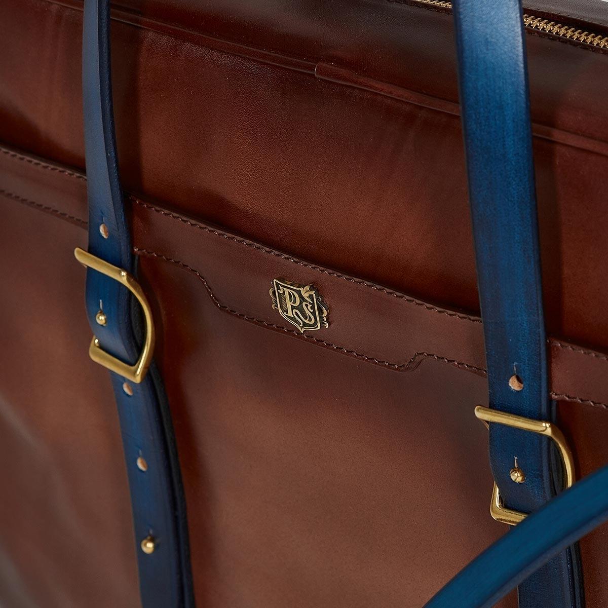 Briefcase  DAPPER 17'' sapphire blue & dutch cocoa