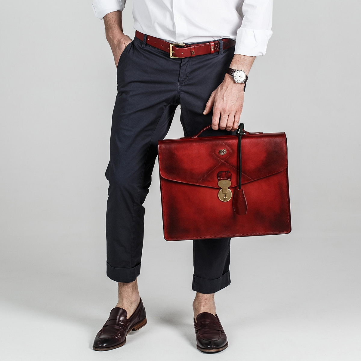 Briefcase ELEGANCE midnight blue & red currant