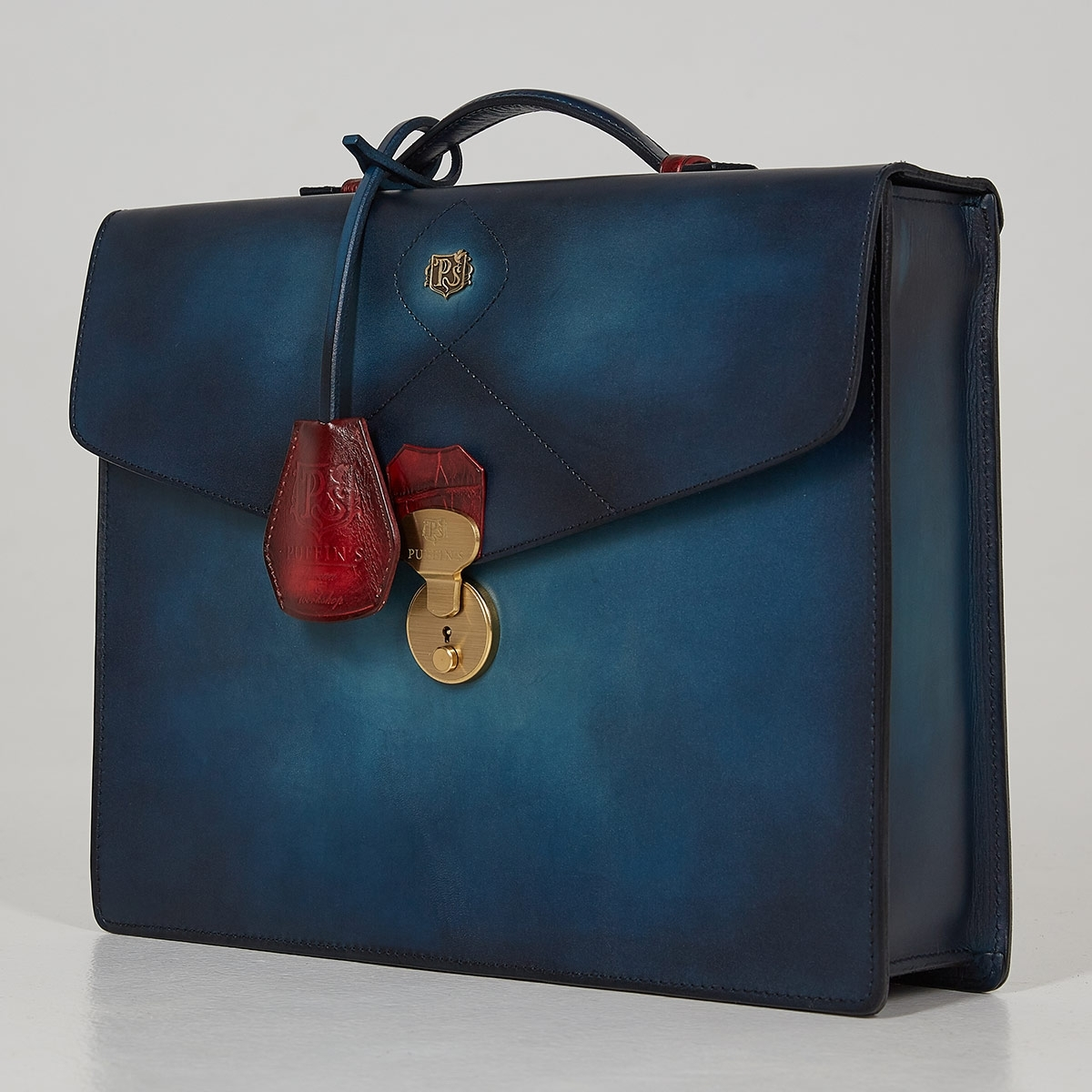 Briefcase ELEGANCE red currant & sapphire blue
