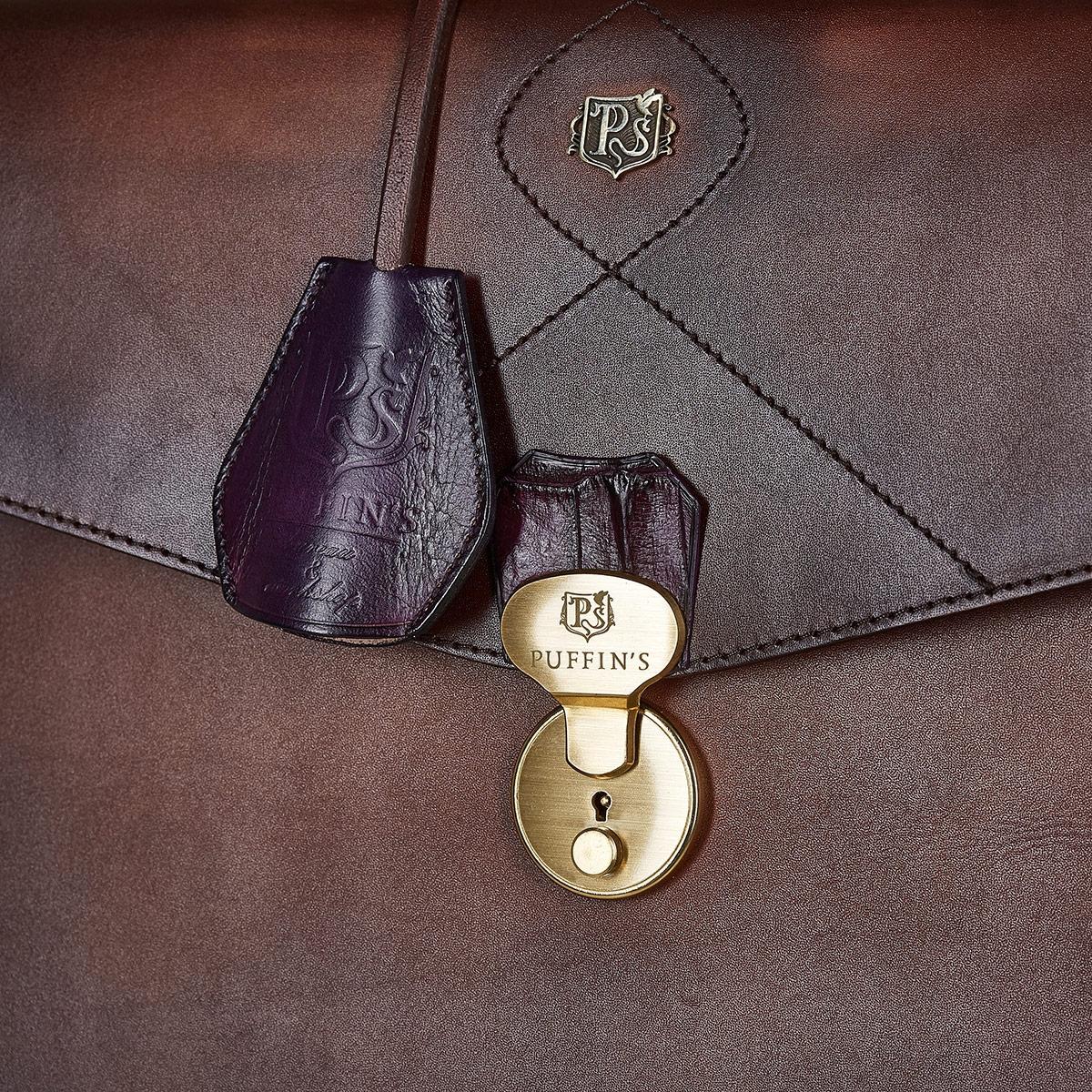 Briefcase ELEGANCE plum wine & dutch cocoa