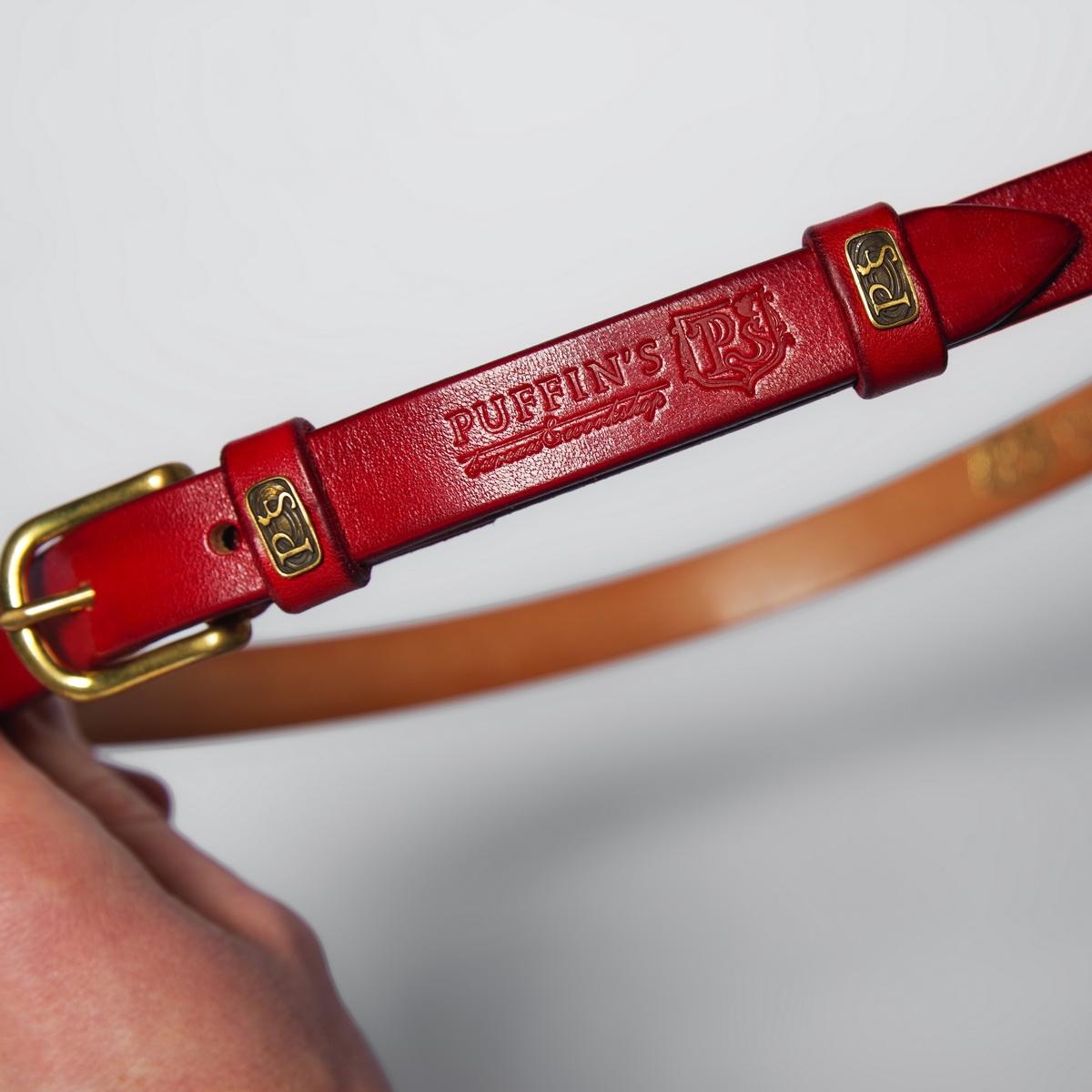 Изящный ремень с латунной пряжкой 20мм красная смородина