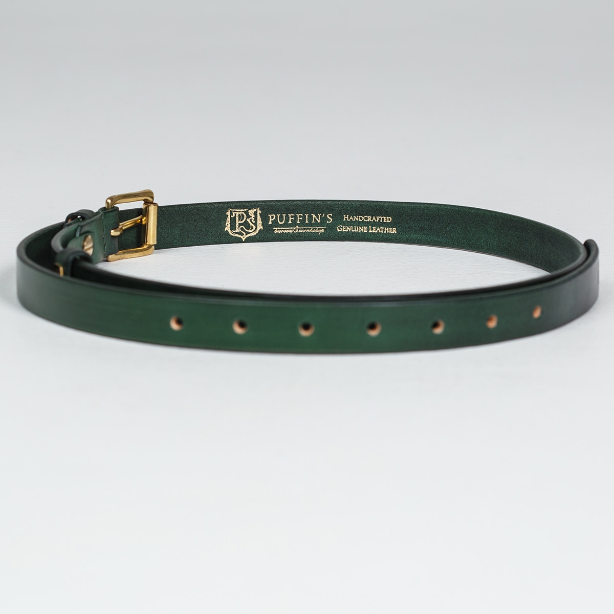 An exquisite 20mm belt with a brass buckle grassy green