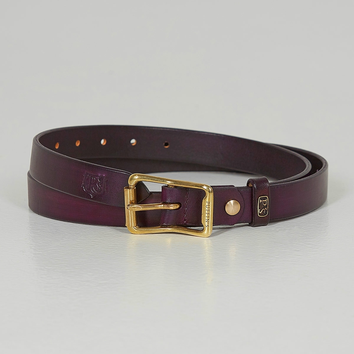 Luxury narrow belt 25mm with patina plum wine