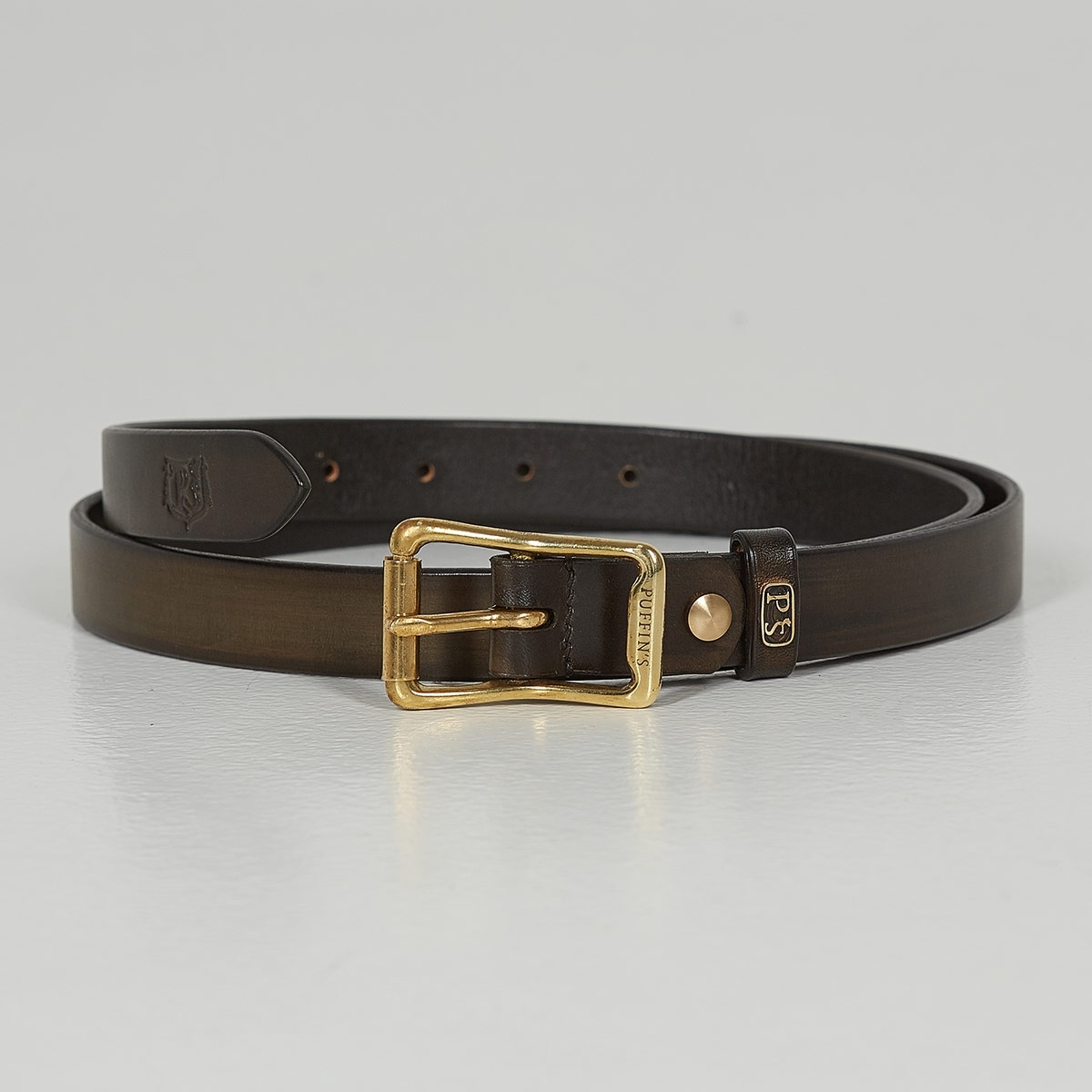 Luxury narrow belt 25mm with patina dark olive
