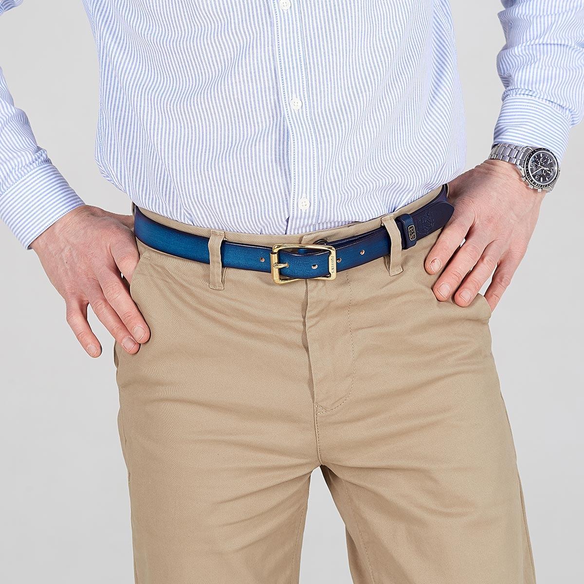 Luxury narrow belt 25mm with patina sapphire blue